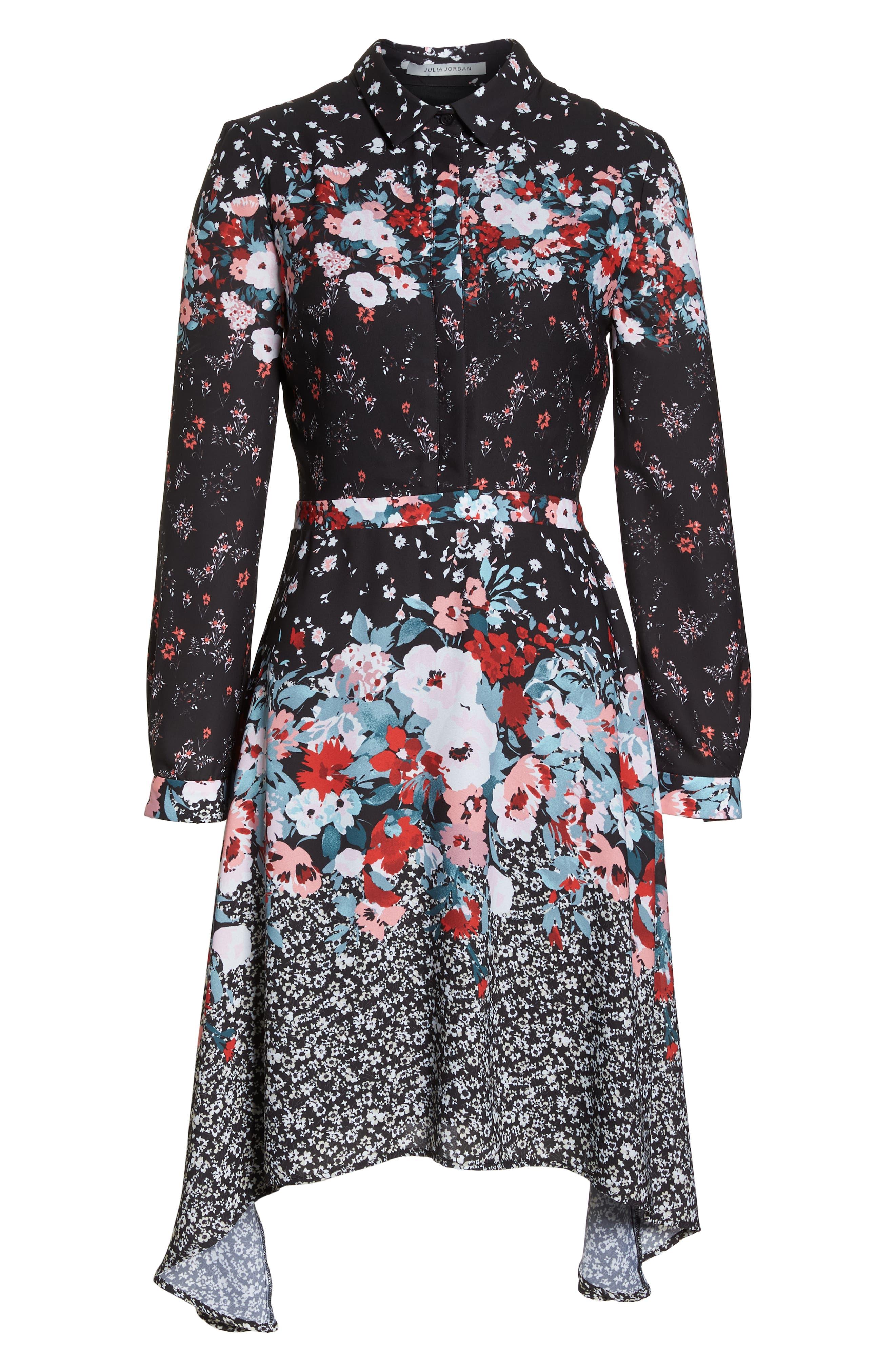 JULIA JORDAN, Floral Print Shirtdress, Alternate thumbnail 7, color, 017