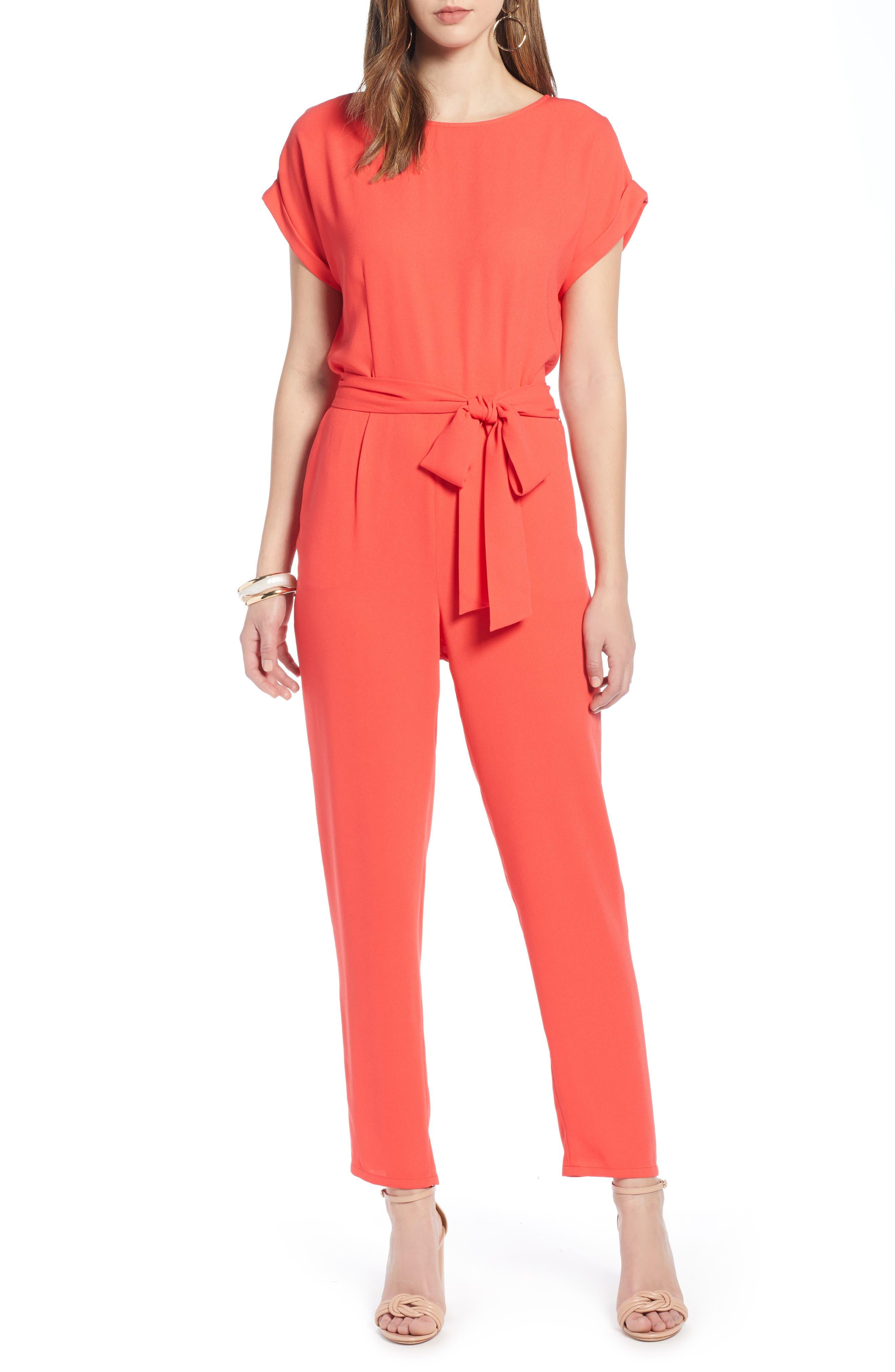 Halogen Short Sleeve Jumpsuit, Red