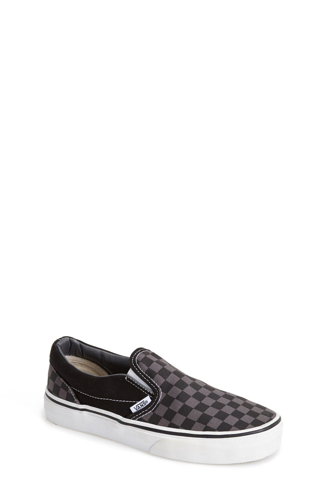 VANS, Classic Checker Slip-On, Main thumbnail 1, color, CHECKERBOARD/ BLACK/ PEWTER