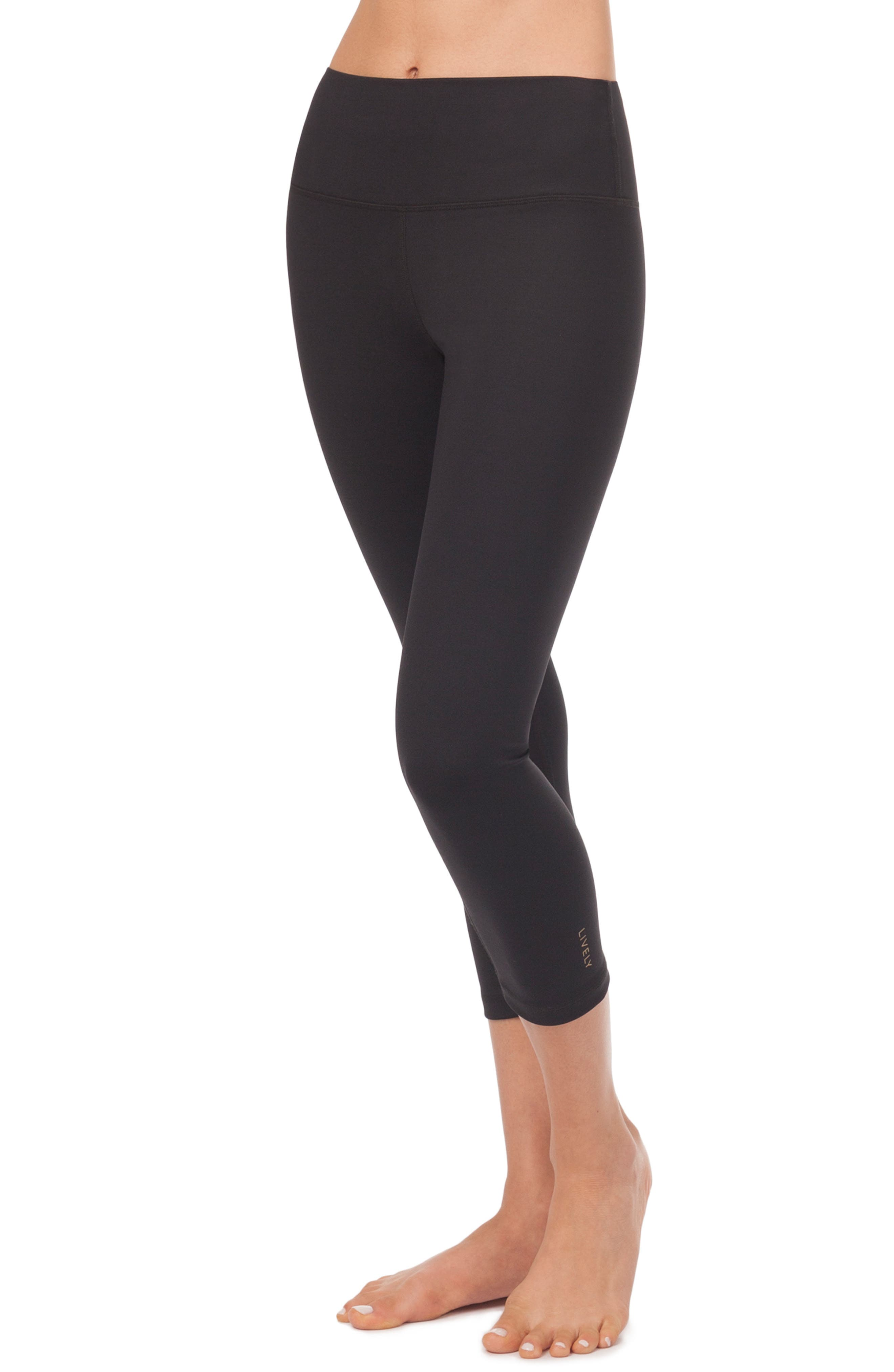 LIVELY, The Active High Waist Crop Leggings, Alternate thumbnail 4, color, JET BLACK