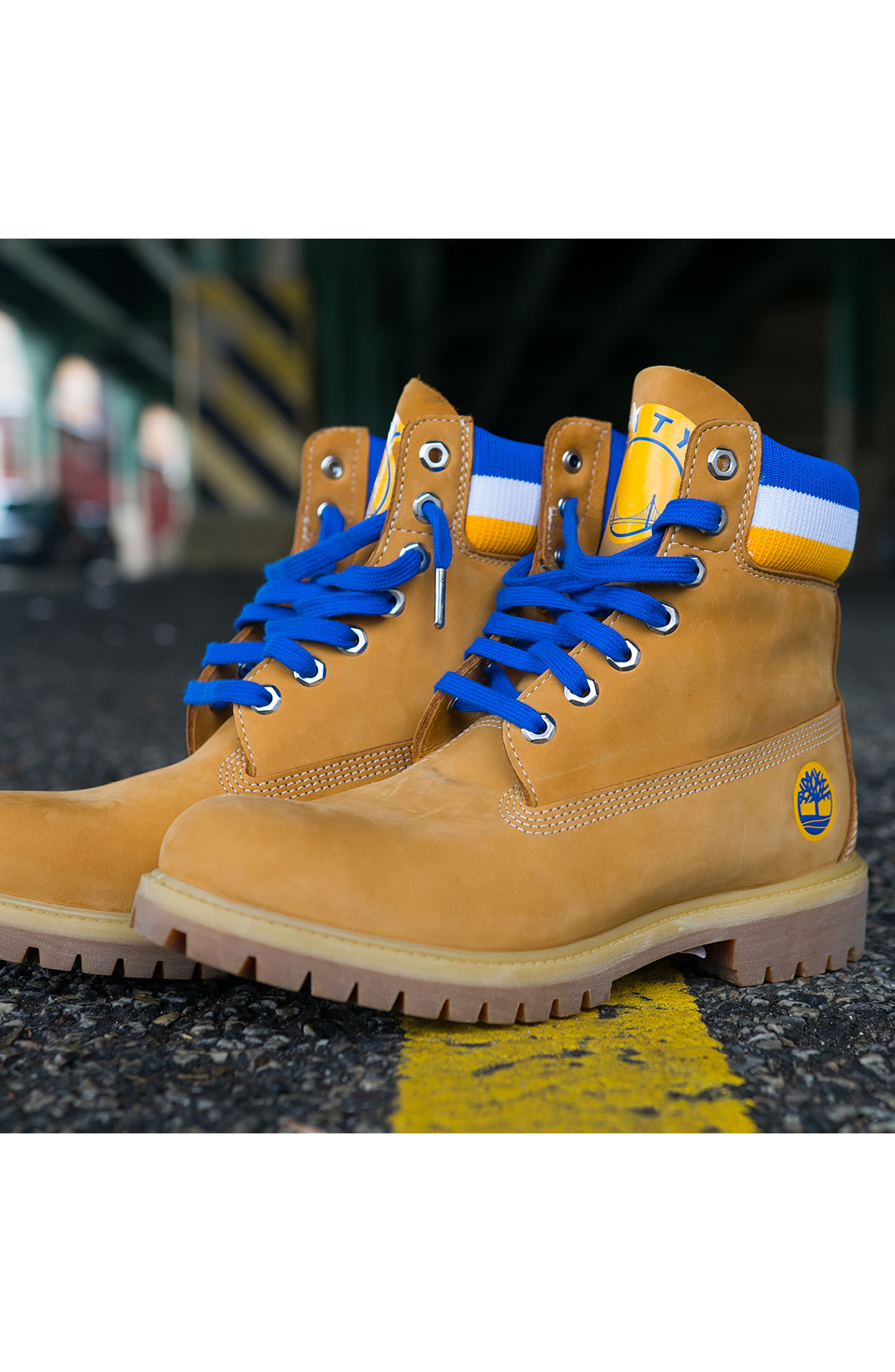 TIMBERLAND, Premium NBA Collection Boot, Alternate thumbnail 12, color, WHEAT NUBUCK/ GOLDEN STATE