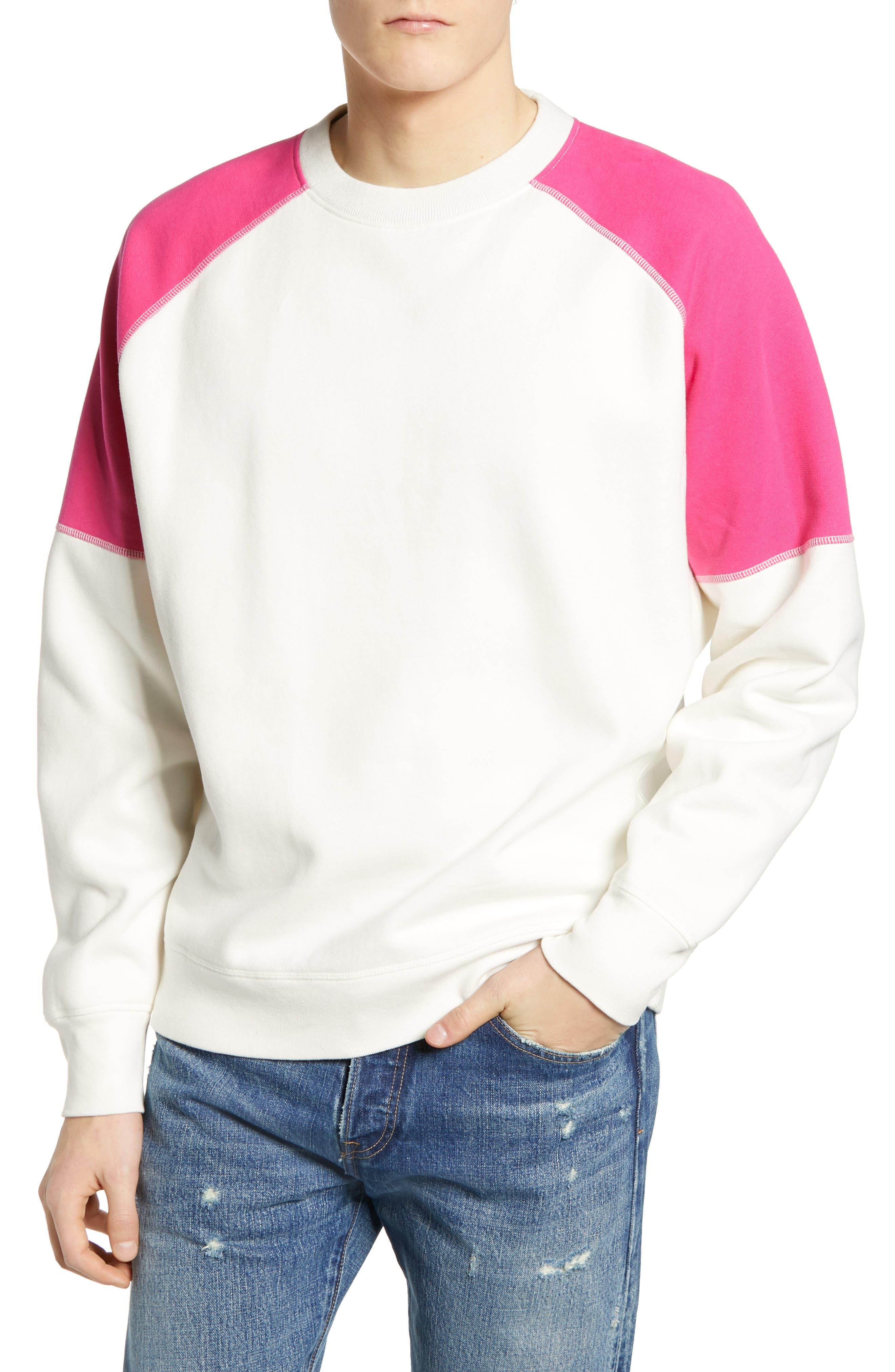 LEVI'S<SUP>®</SUP> MADE & CRAFTED<SUP>™</SUP>, Regular Fit Raglan Sweatshirt, Main thumbnail 1, color, WHITE ALYSSUM