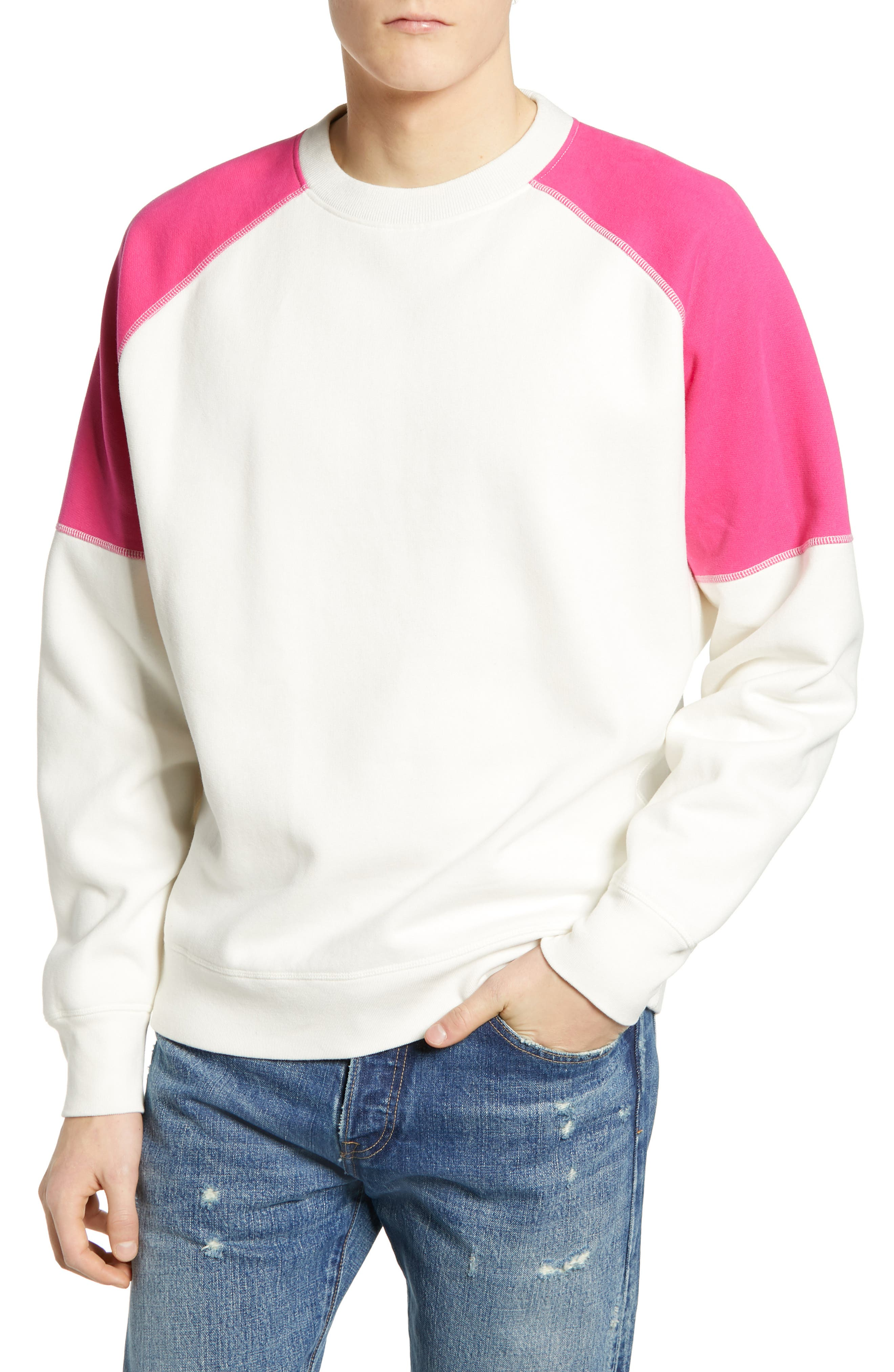 LEVI'S<SUP>®</SUP> MADE & CRAFTED<SUP>™</SUP> Regular Fit Raglan Sweatshirt, Main, color, WHITE ALYSSUM