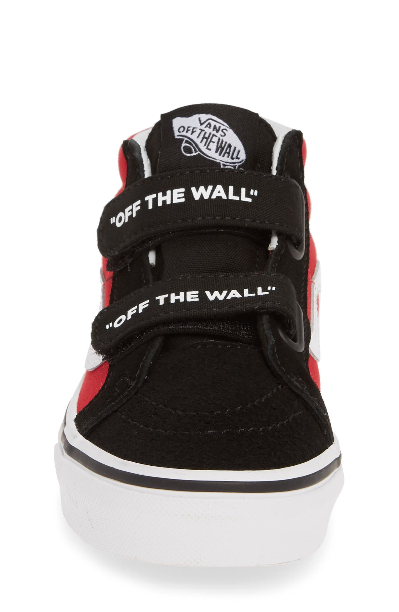 VANS, Sk8-Mid Reissue V Sneaker, Alternate thumbnail 4, color, LOGO POP BLACK/ TRUE WHITE