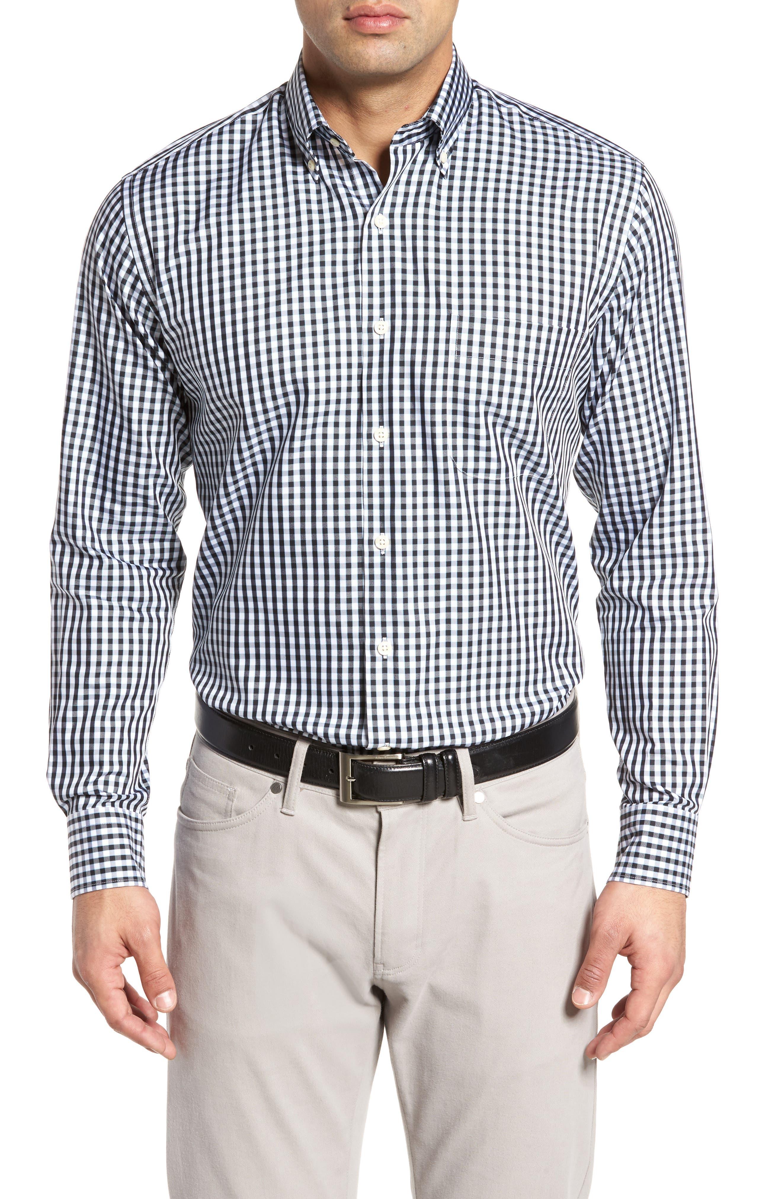 PETER MILLAR Black Sand Regular Fit Gingham Check Sport Shirt, Main, color, BLACK