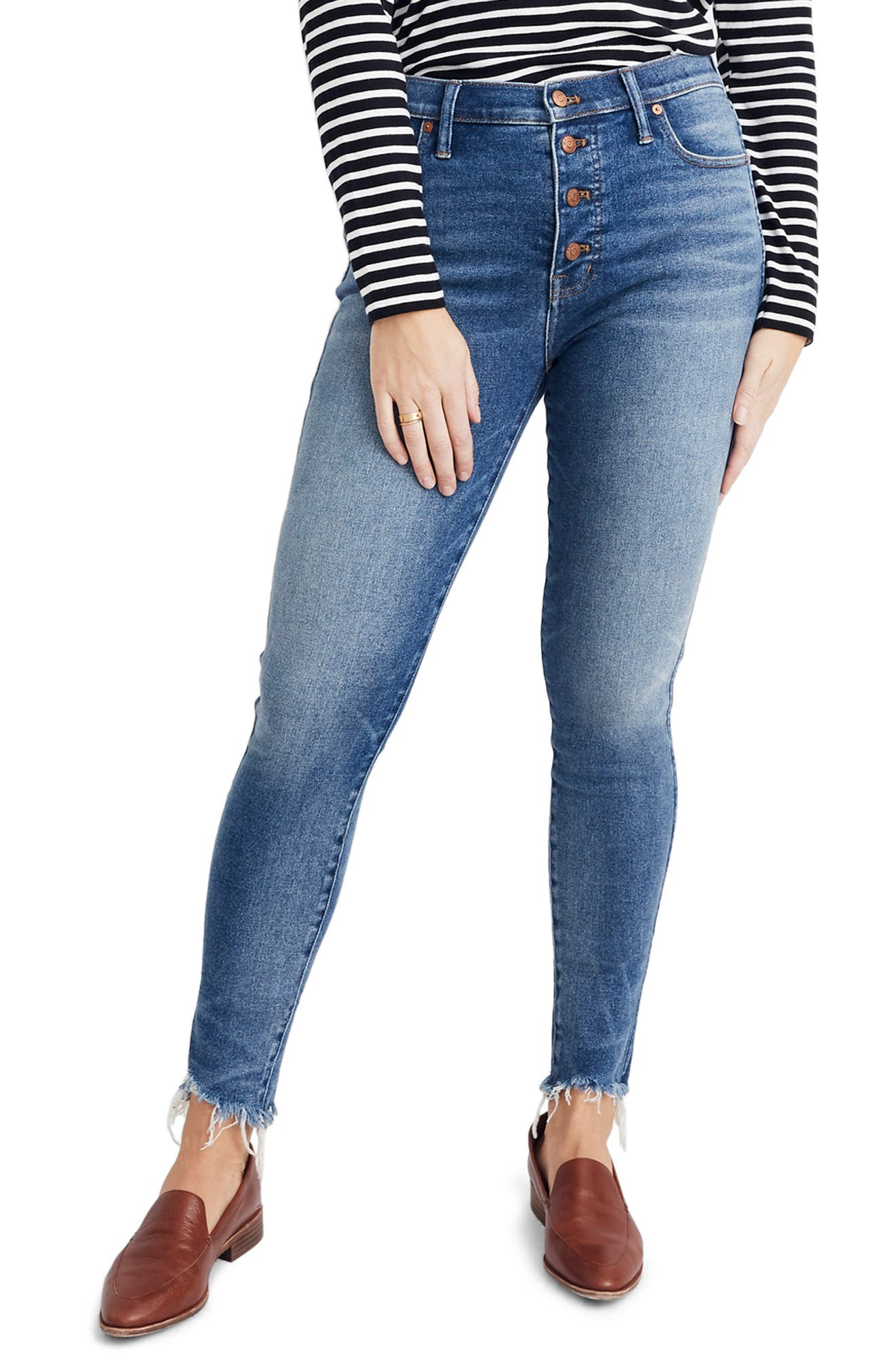 MADEWELL, 10-Inch High Waist Skinny Jeans, Alternate thumbnail 10, color, CORDOVA