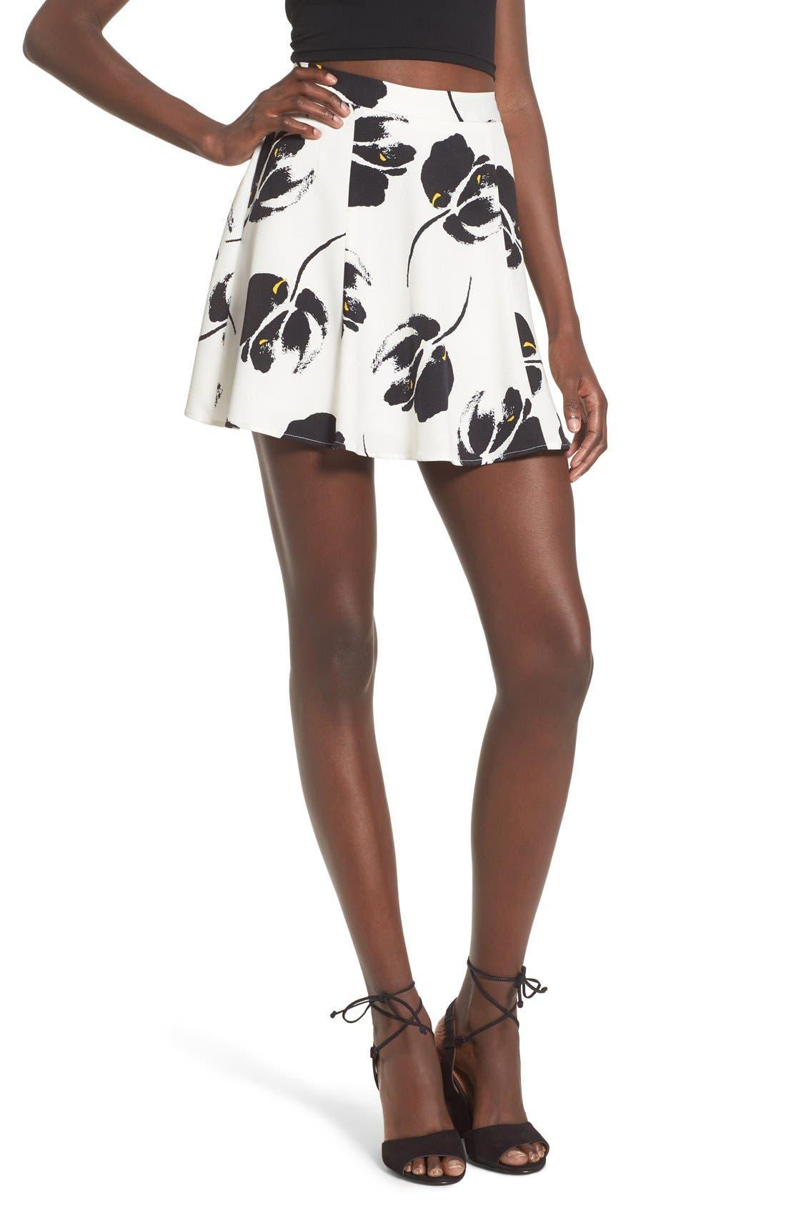 ---, Floral Print Miniskirt, Main thumbnail 1, color, 100