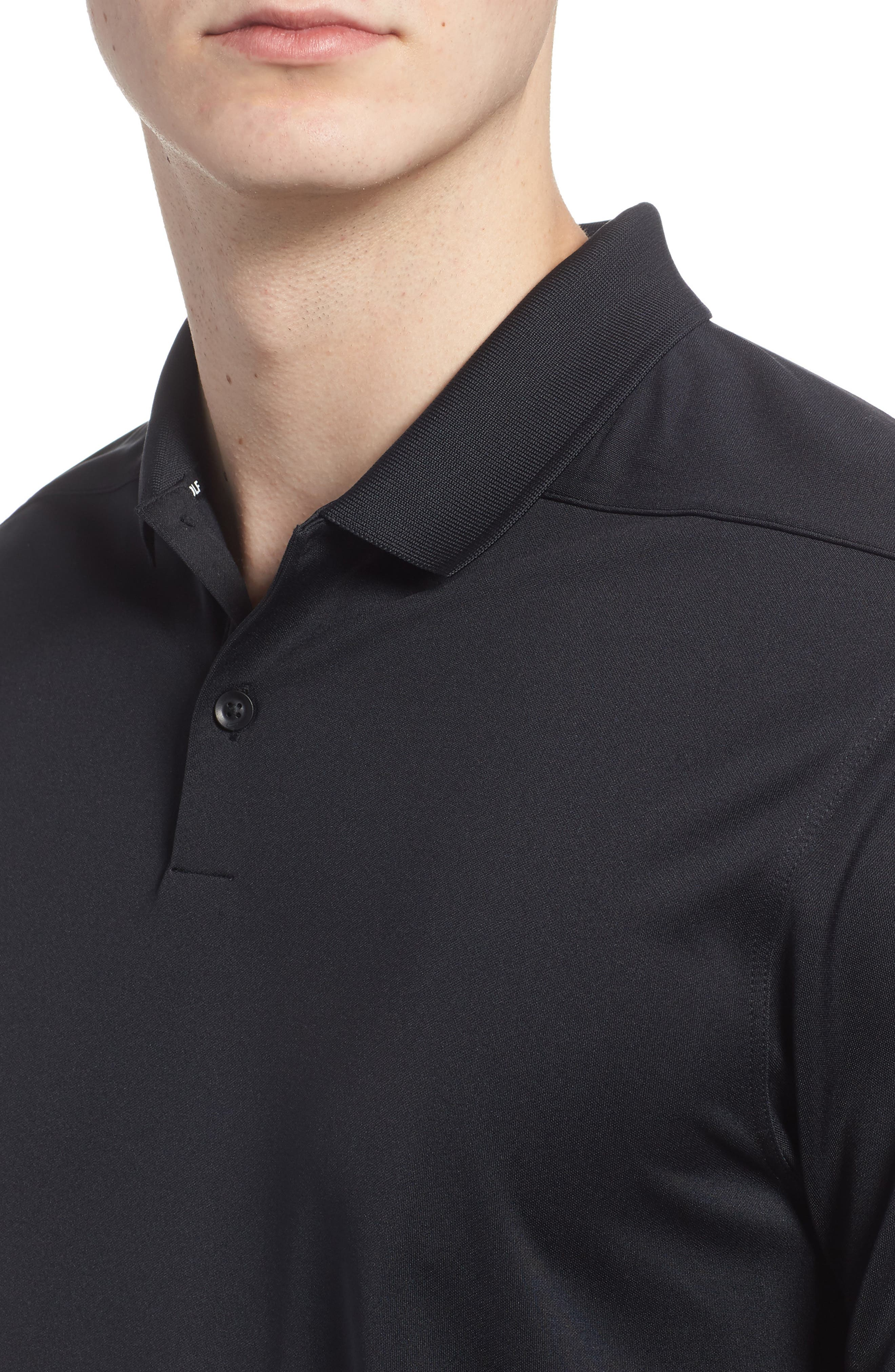 NIKE, Victory Dri-FIT Golf Polo, Alternate thumbnail 4, color, BLACK/ GUNSMOKE