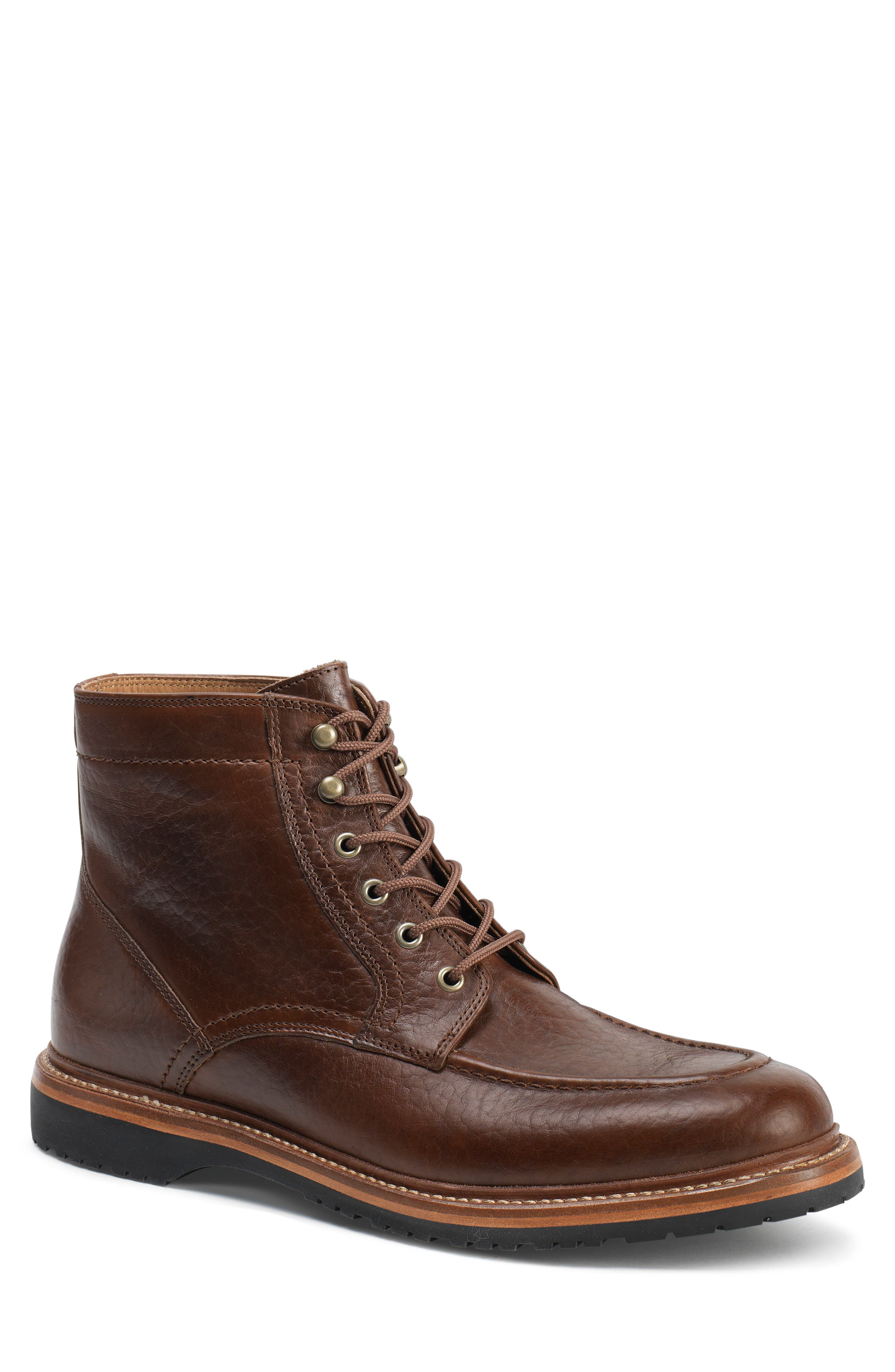 TRASK 'Andrew Mid' Apron Toe Boot, Main, color, BOURBON