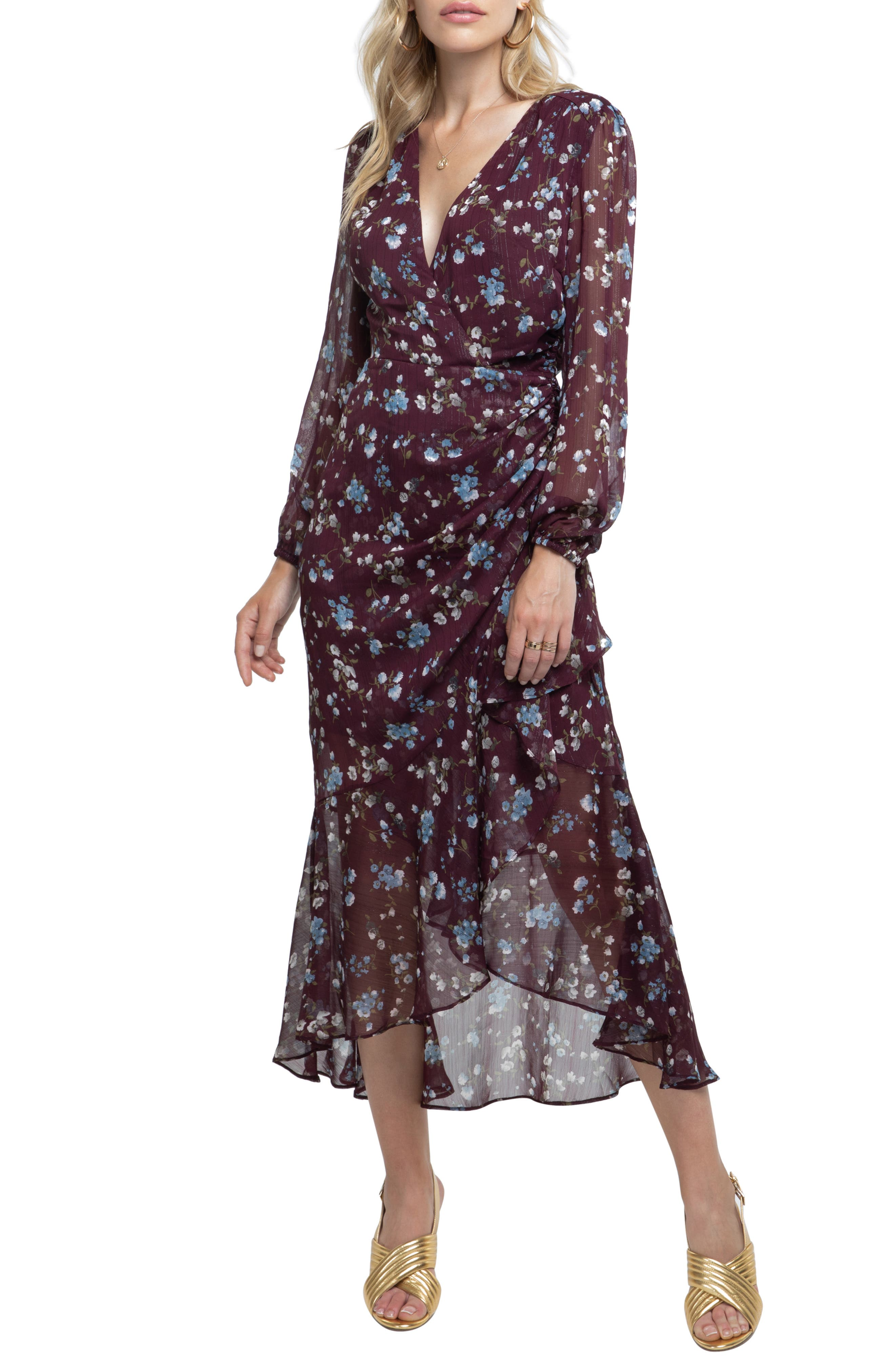 ASTR THE LABEL, Side Cinched Ruffle Hem Dress, Main thumbnail 1, color, WINE FLORAL