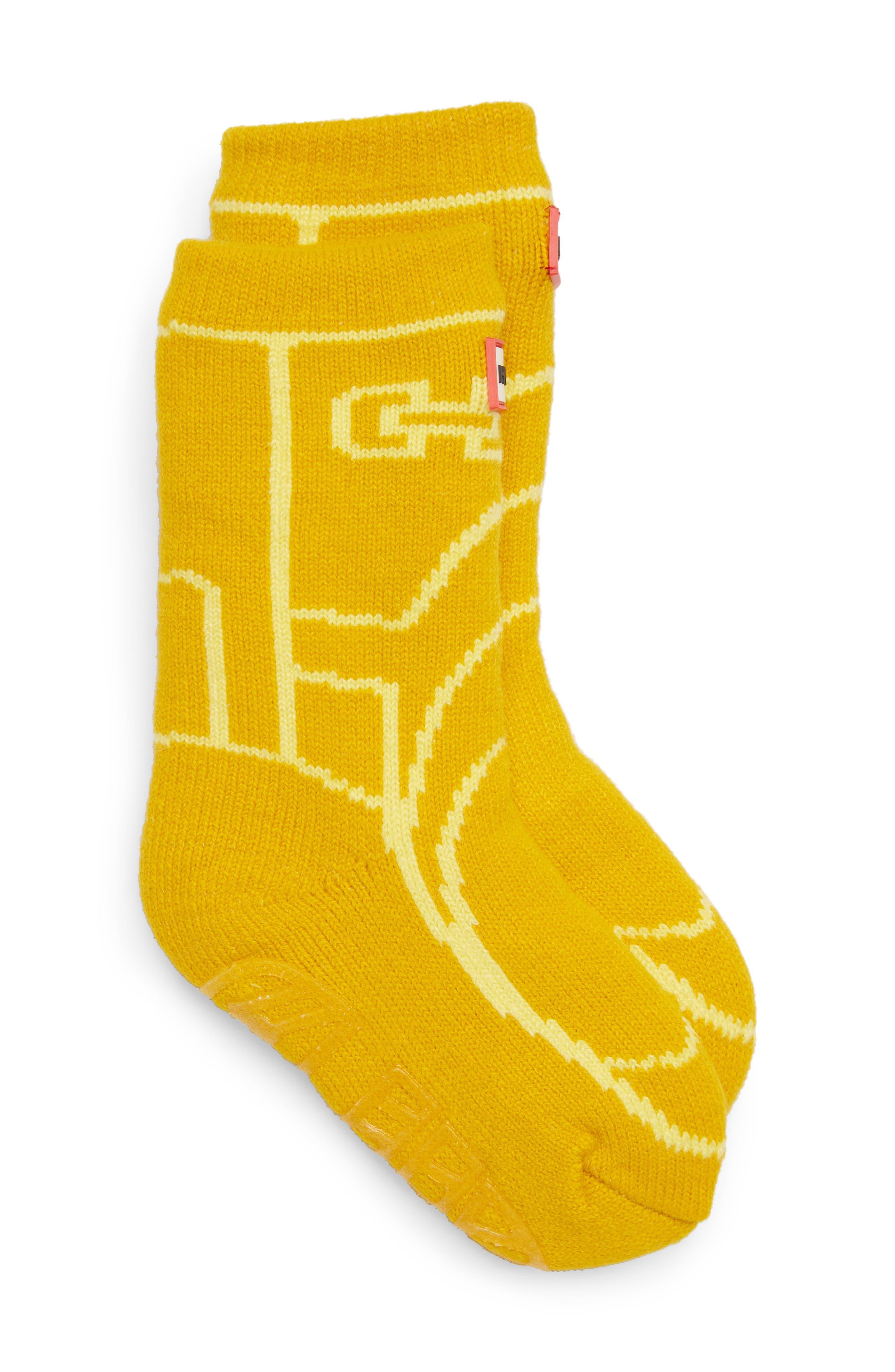 Toddler Hunter Original Boot Slipper Socks Size Large  Yellow