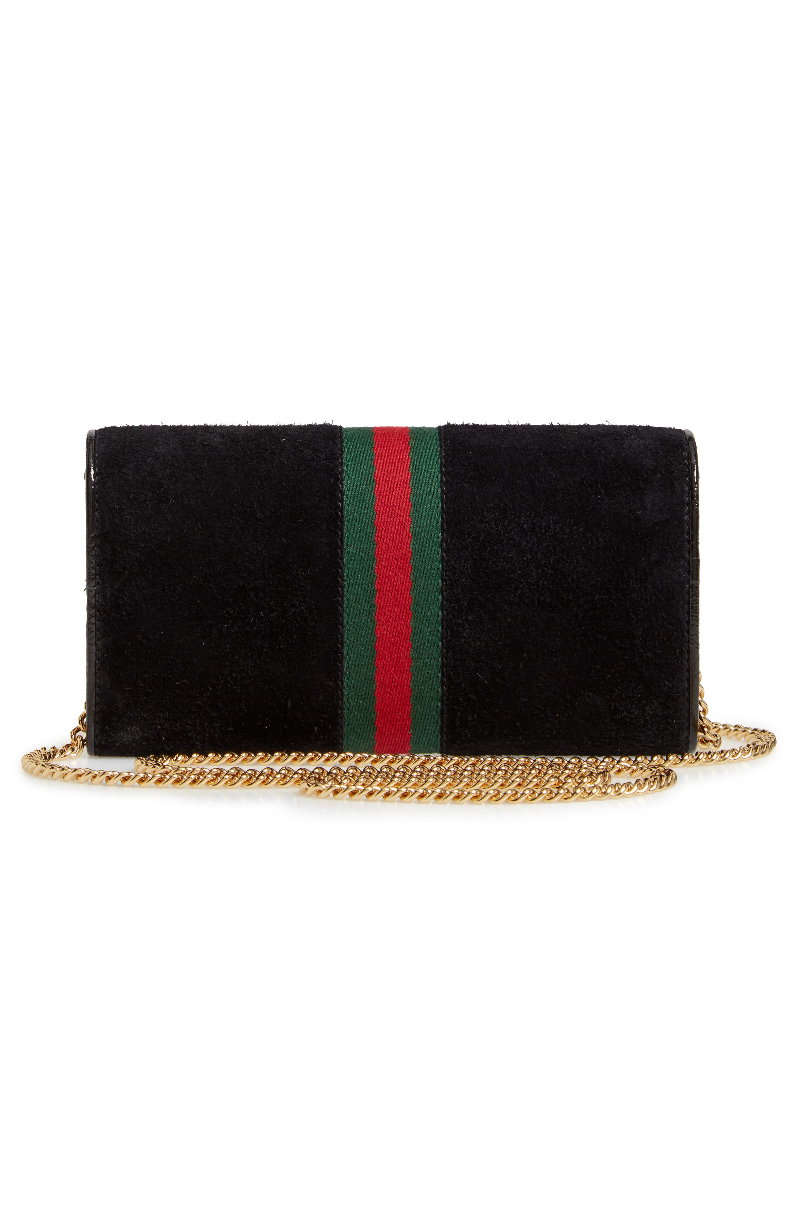 GUCCI, Ophidia Suede Continental Wallet, Alternate thumbnail 3, color, NERO/ VERT/ RED
