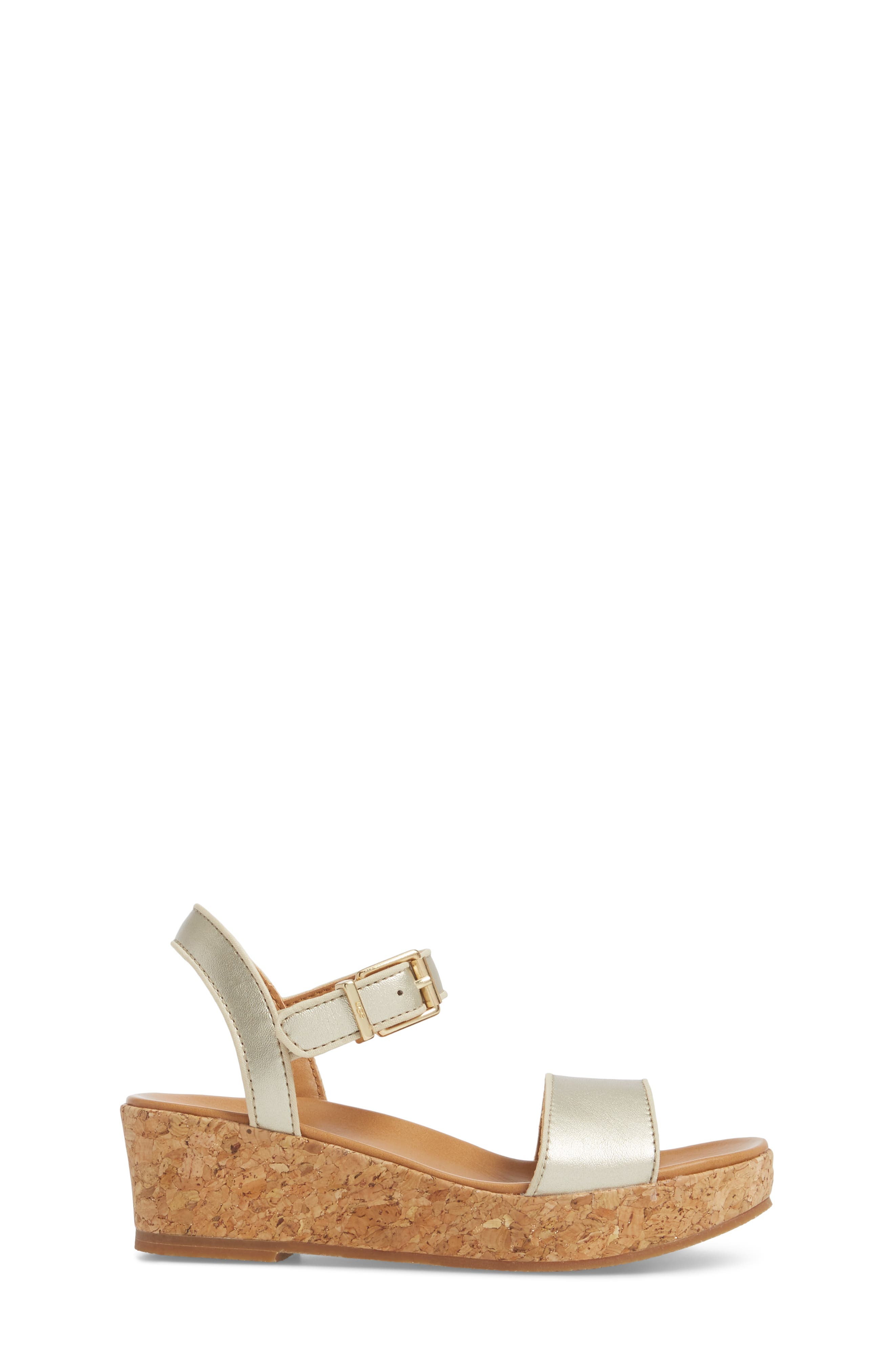UGG<SUP>®</SUP>, Milley Wedge Sandal, Alternate thumbnail 3, color, GOLD