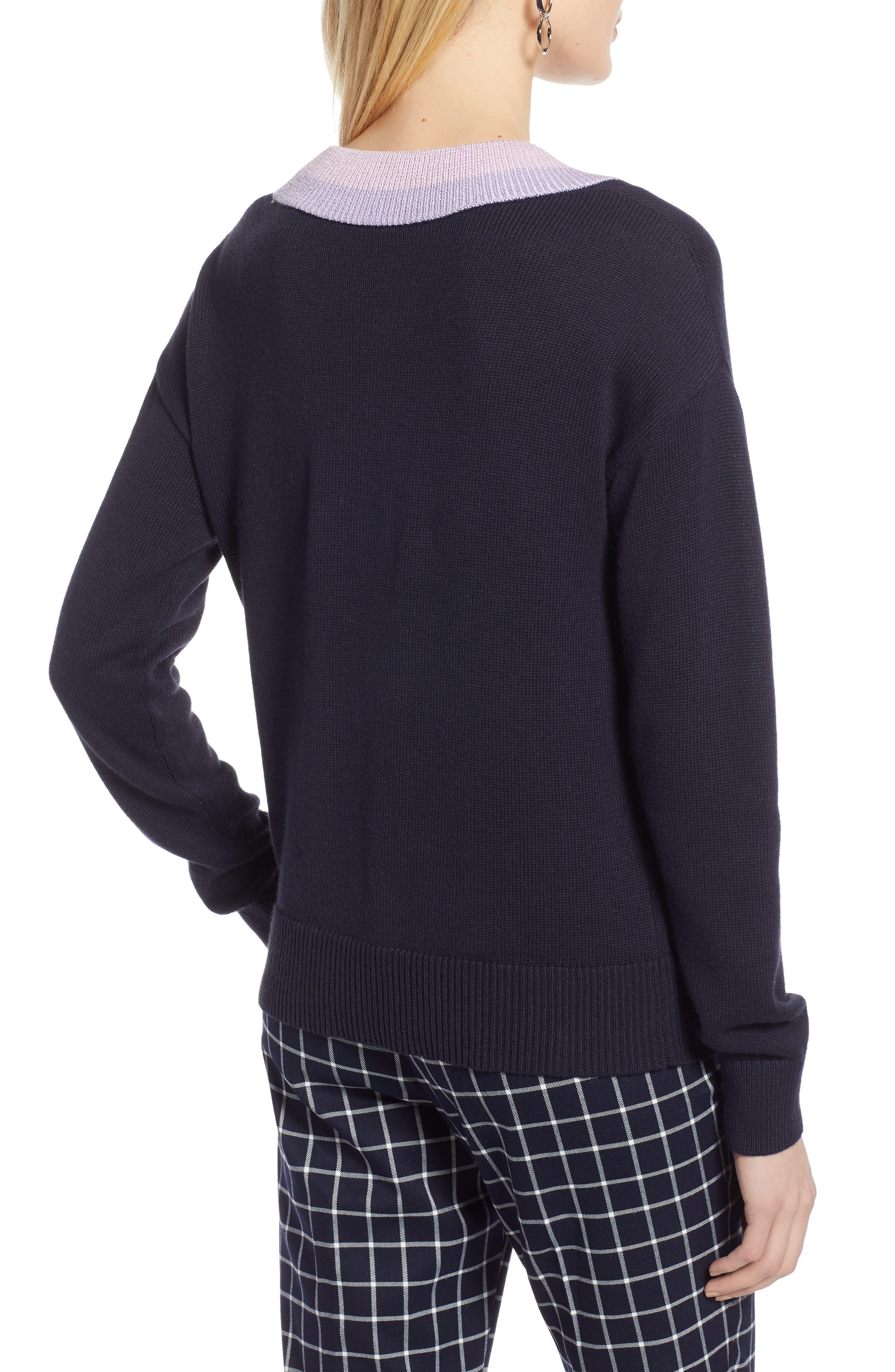 HALOGEN<SUP>®</SUP>, Shimmer V-Neck Sweater, Alternate thumbnail 2, color, NAVY NIGHT