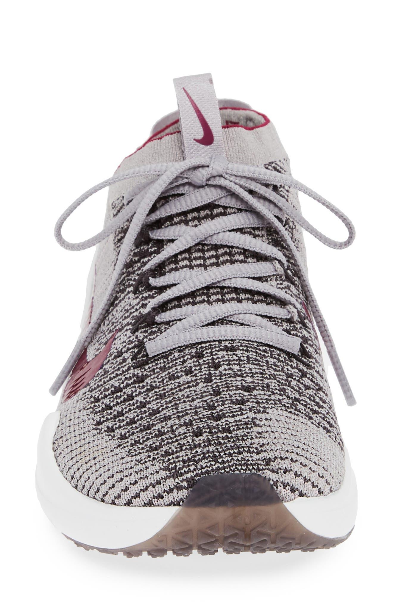 NIKE, Air Zoom Fearless Flyknit 2 Training Sneaker, Alternate thumbnail 4, color, GREY/ TRUE BERRY/ PLUM CHALK