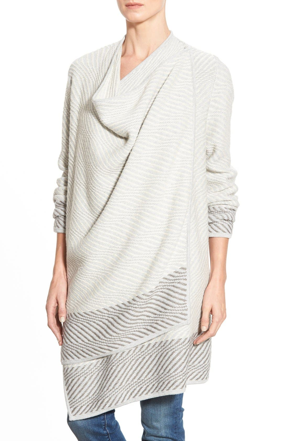 LUCKY BRAND, Waterfall Cardigan, Alternate thumbnail 2, color, 100