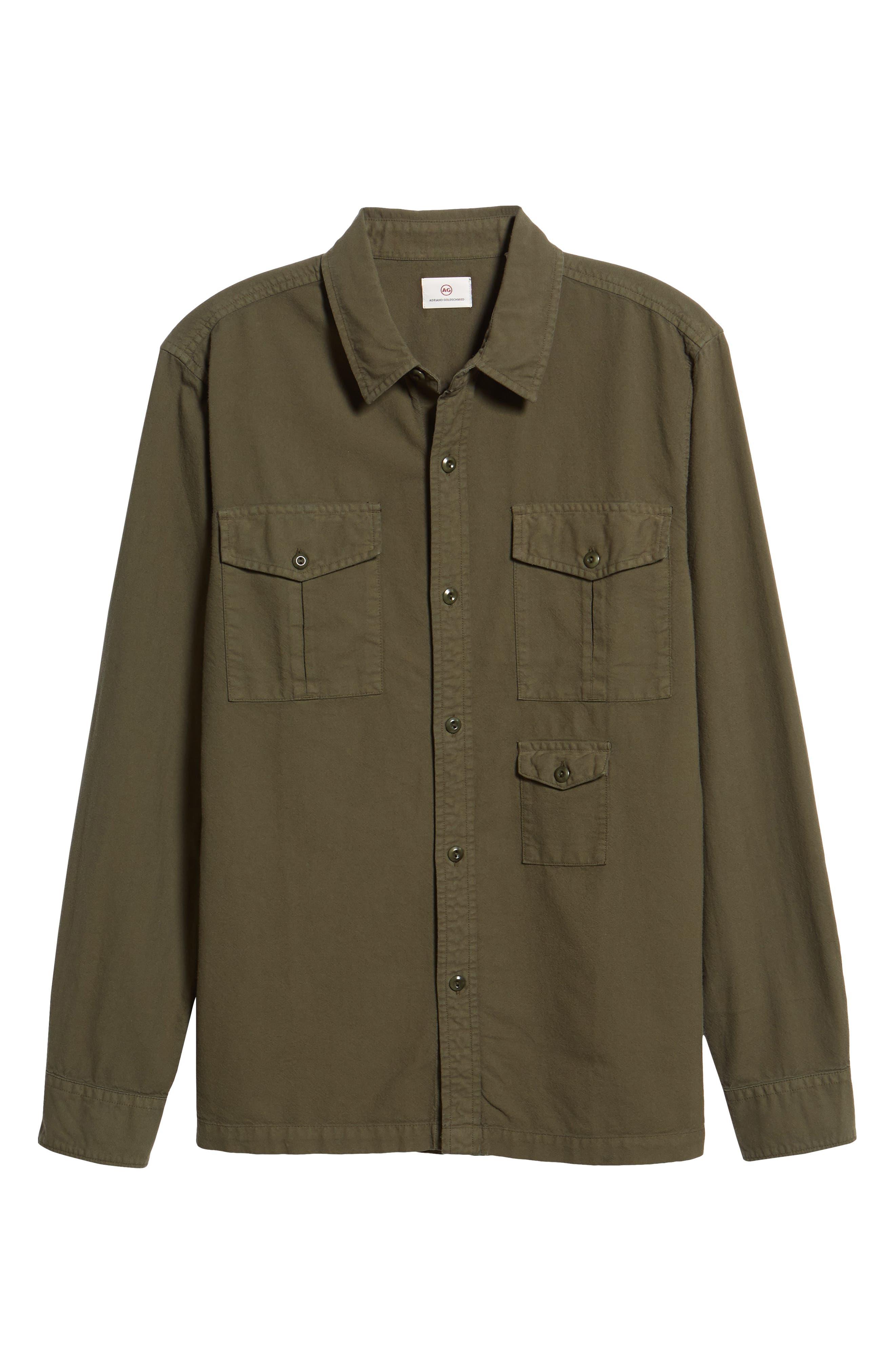 AG, Pioneer Tri-Pocket Long Sleeve Slim Fit Sport Shirt, Alternate thumbnail 5, color, SULFUR OAK GROVE