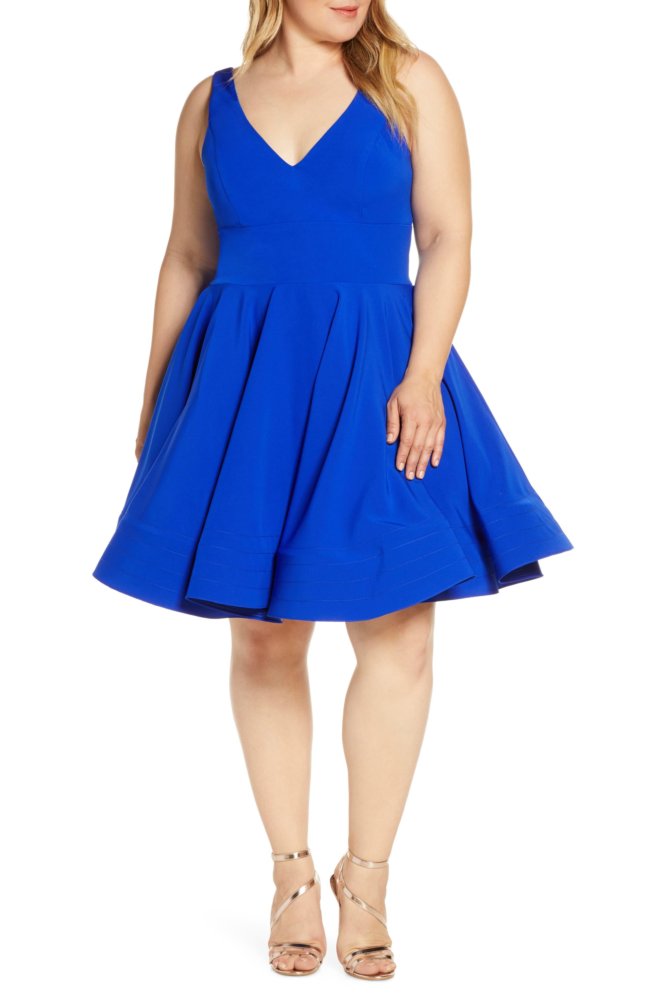 Plus Size MAC Duggal Fit & Flare Party Dress, Blue