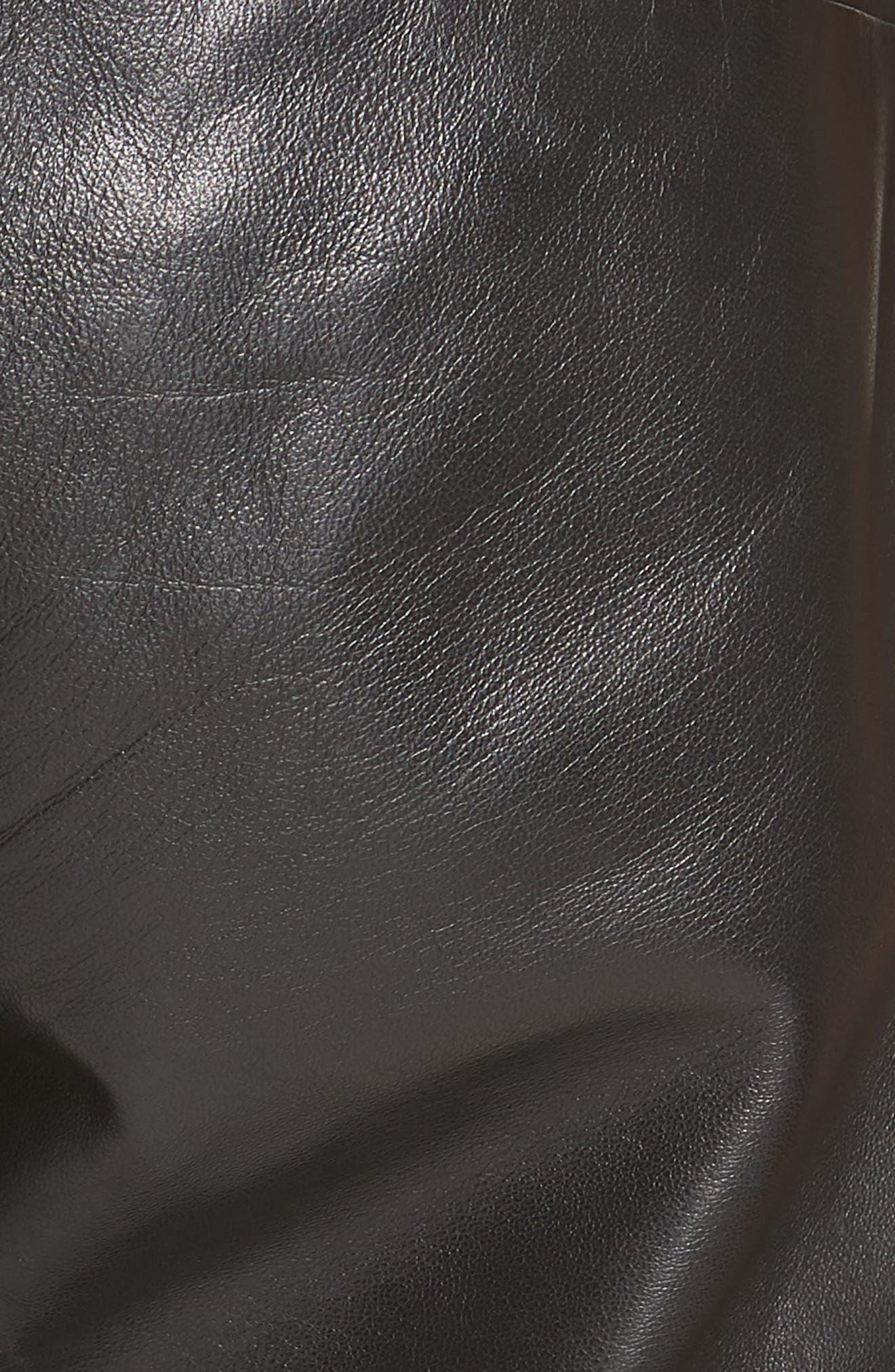 NILI LOTAN, French Military Leather Crop Pants, Alternate thumbnail 5, color, BLACK