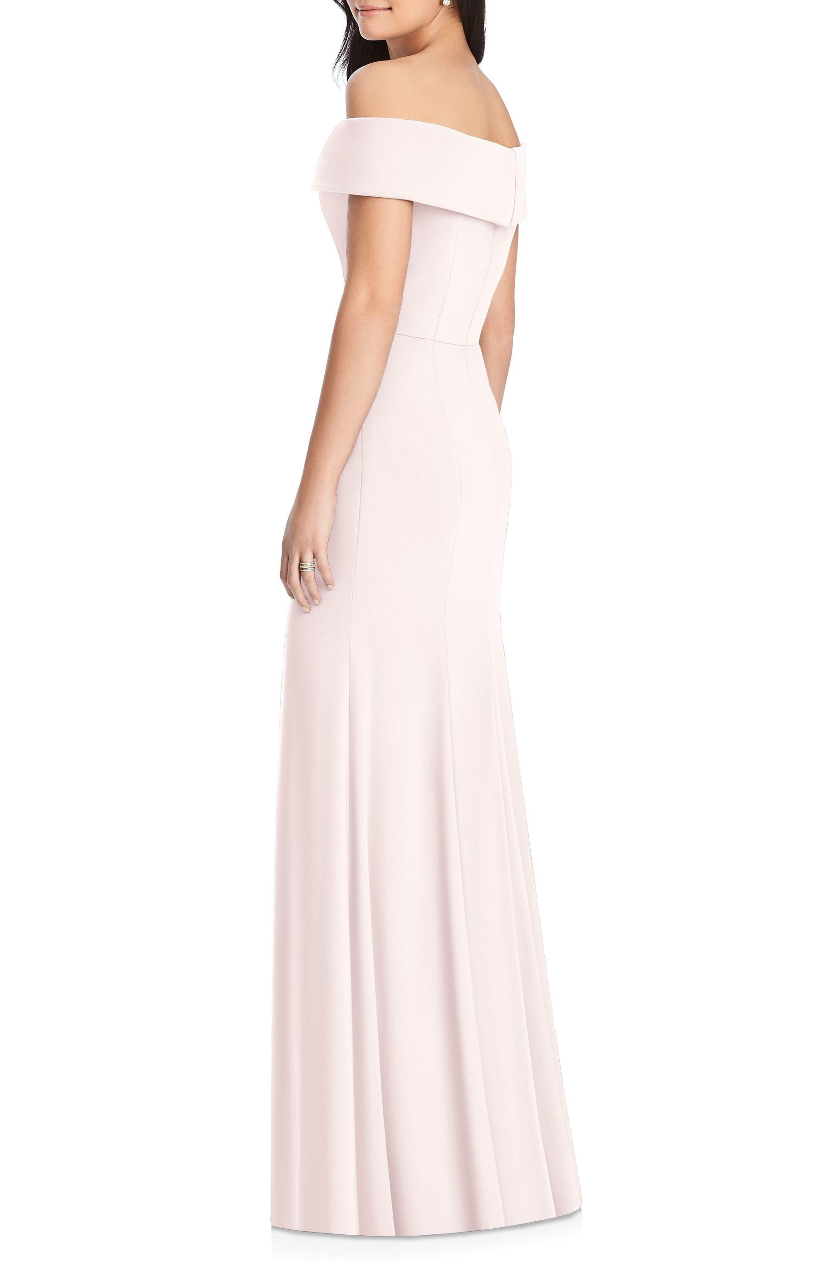 DESSY COLLECTION, Off the Shoulder Side Slit Crepe Gown, Alternate thumbnail 2, color, BLUSH