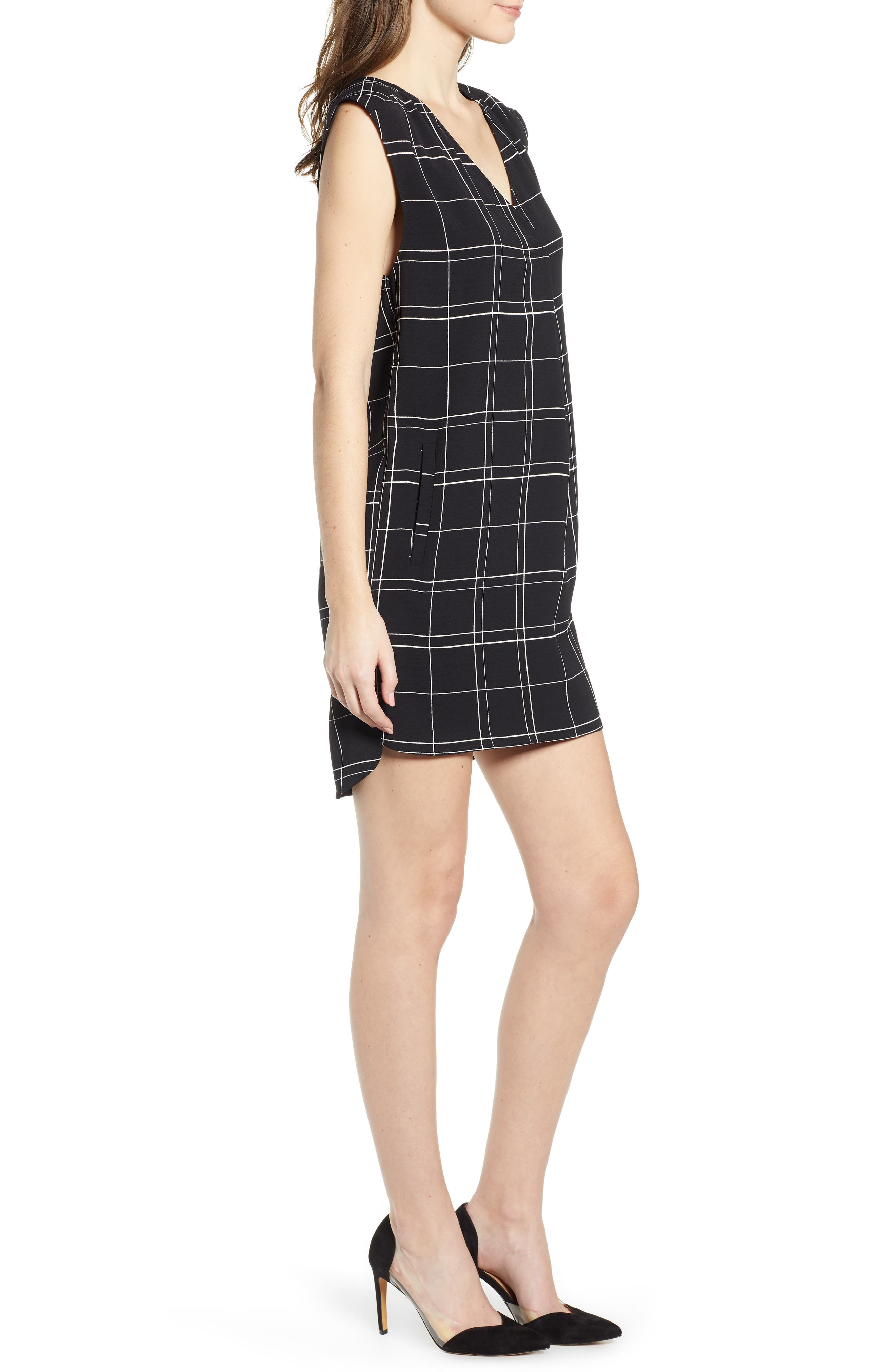 LEITH, Everyday Dress, Alternate thumbnail 4, color, BLACK GLAM CITY CHECK
