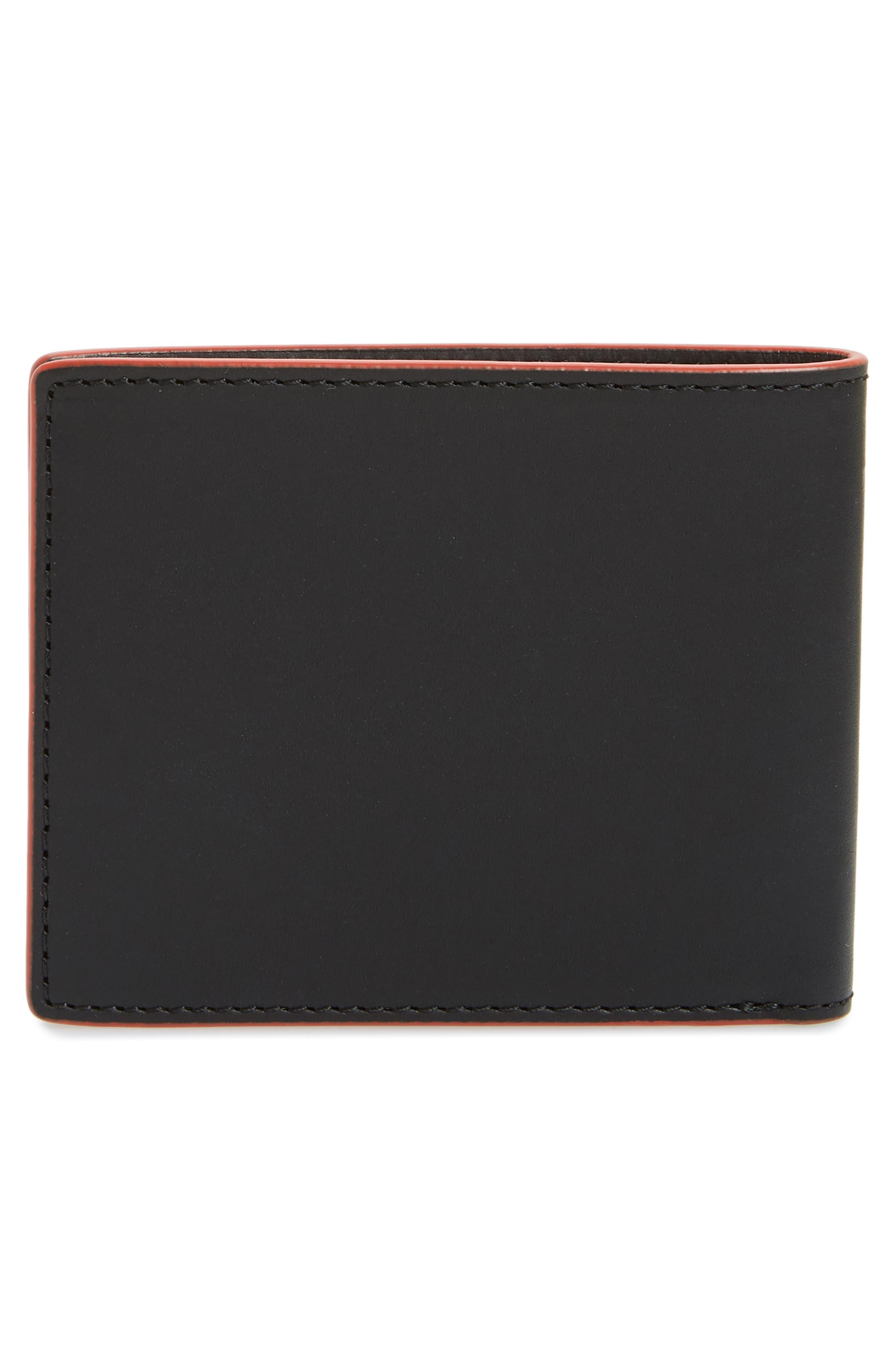 RAG & BONE, Hampshire Leather Bifold Wallet, Alternate thumbnail 3, color, BLACK COMBO