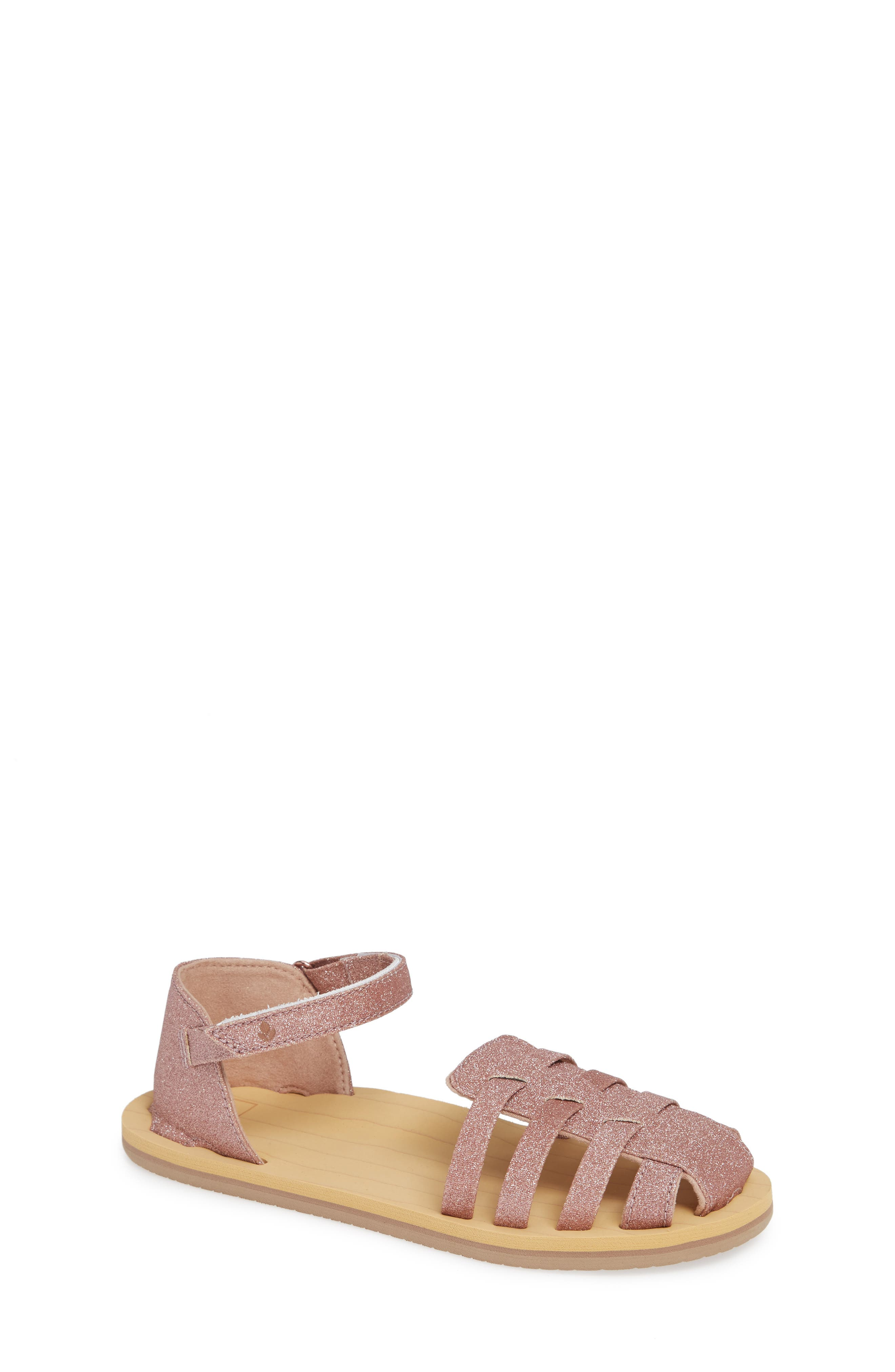 REEF, Little Reef Prep Glitter Fisherman Sandal, Main thumbnail 1, color, ROSE