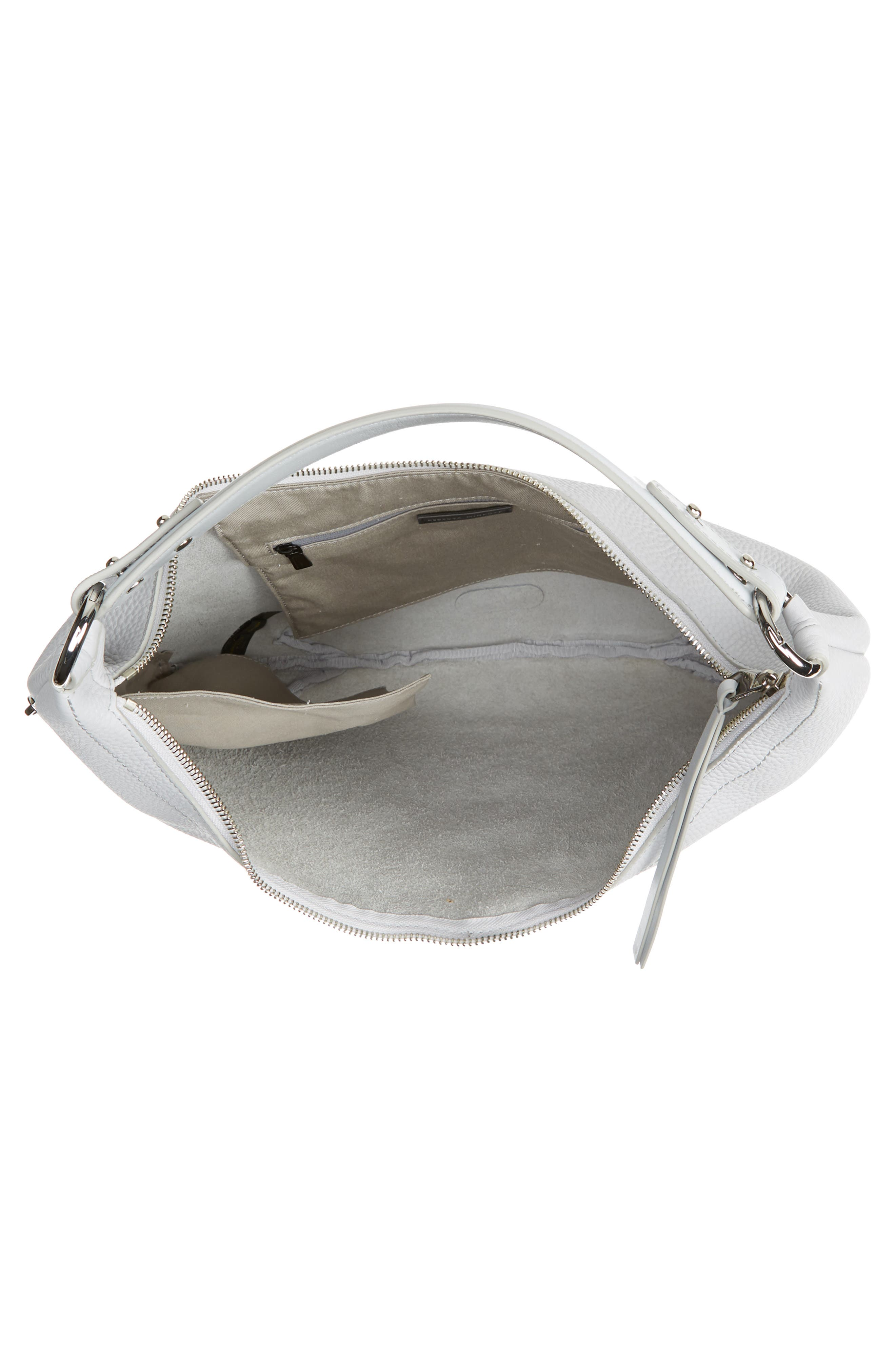REBECCA MINKOFF, Michelle Leather Hobo, Alternate thumbnail 5, color, ICE GREY