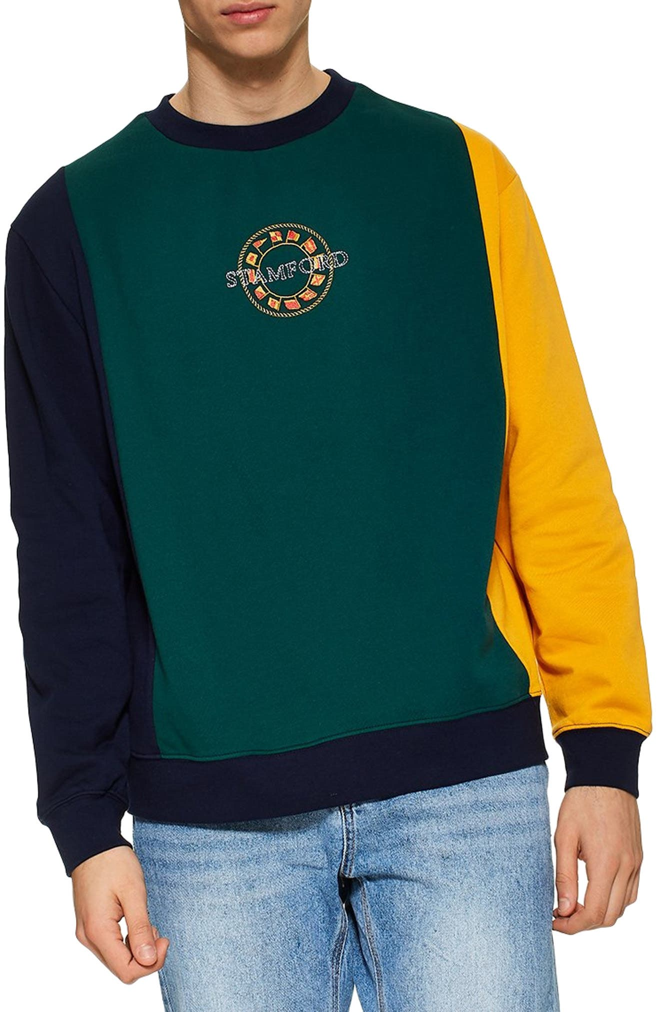 TOPMAN, Classic Fit Stamford Sweatshirt, Main thumbnail 1, color, GREEN MULTI