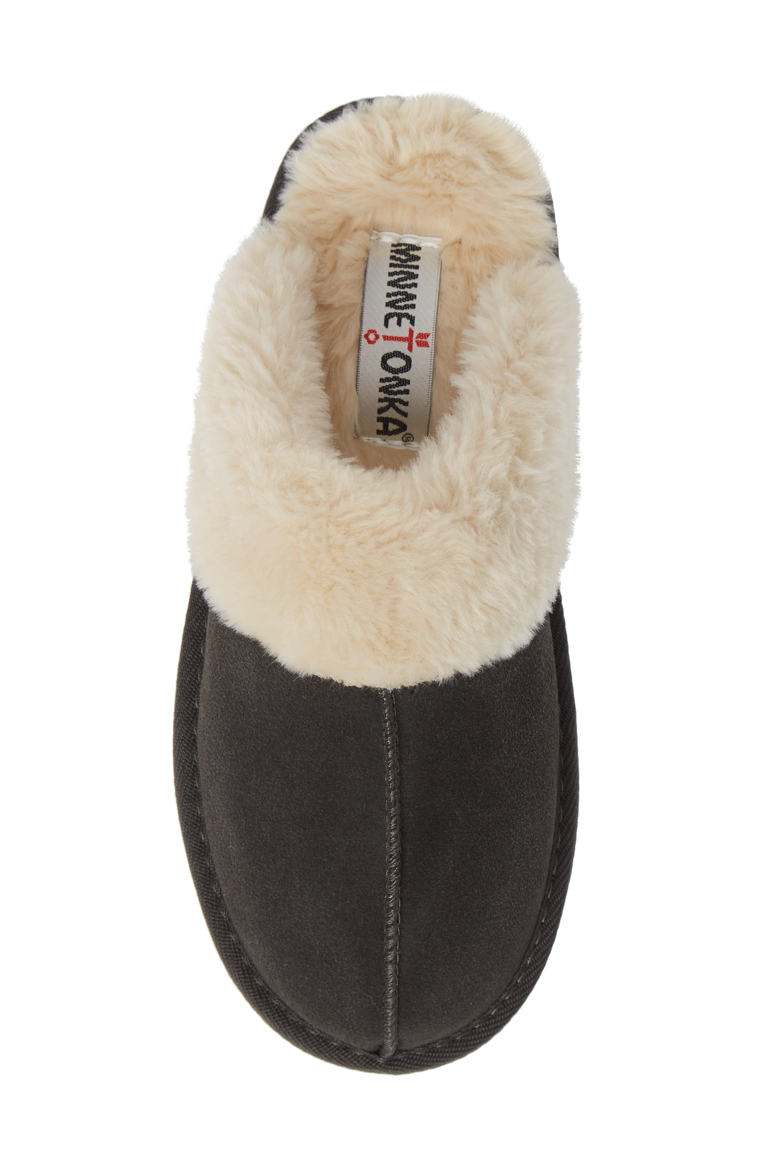 MINNETONKA, Mule Slipper, Alternate thumbnail 5, color, CHARCOAL SUEDE