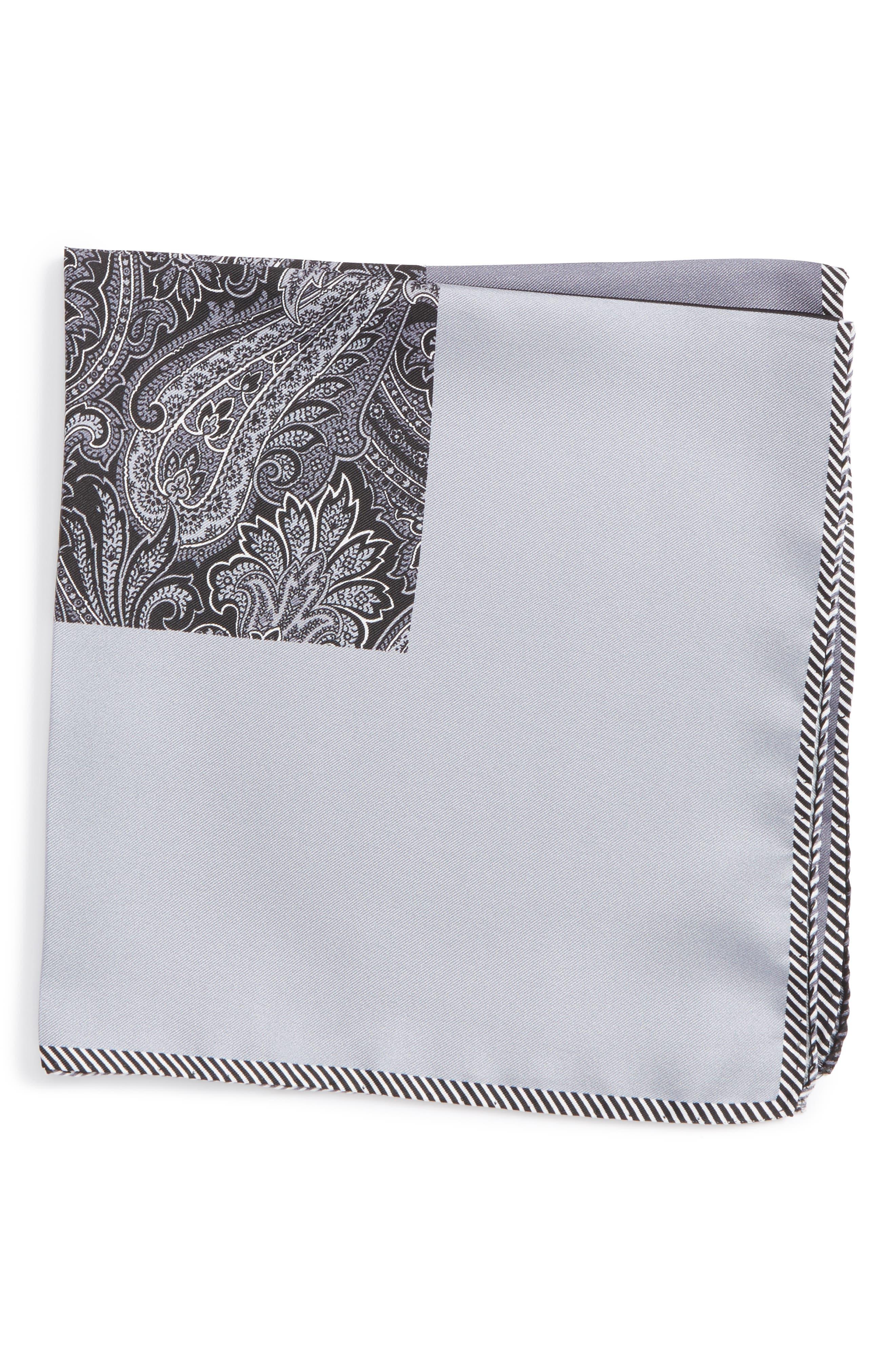 NORDSTROM MEN'S SHOP, Five Panel Silk Pocket Square, Main thumbnail 1, color, BLACK