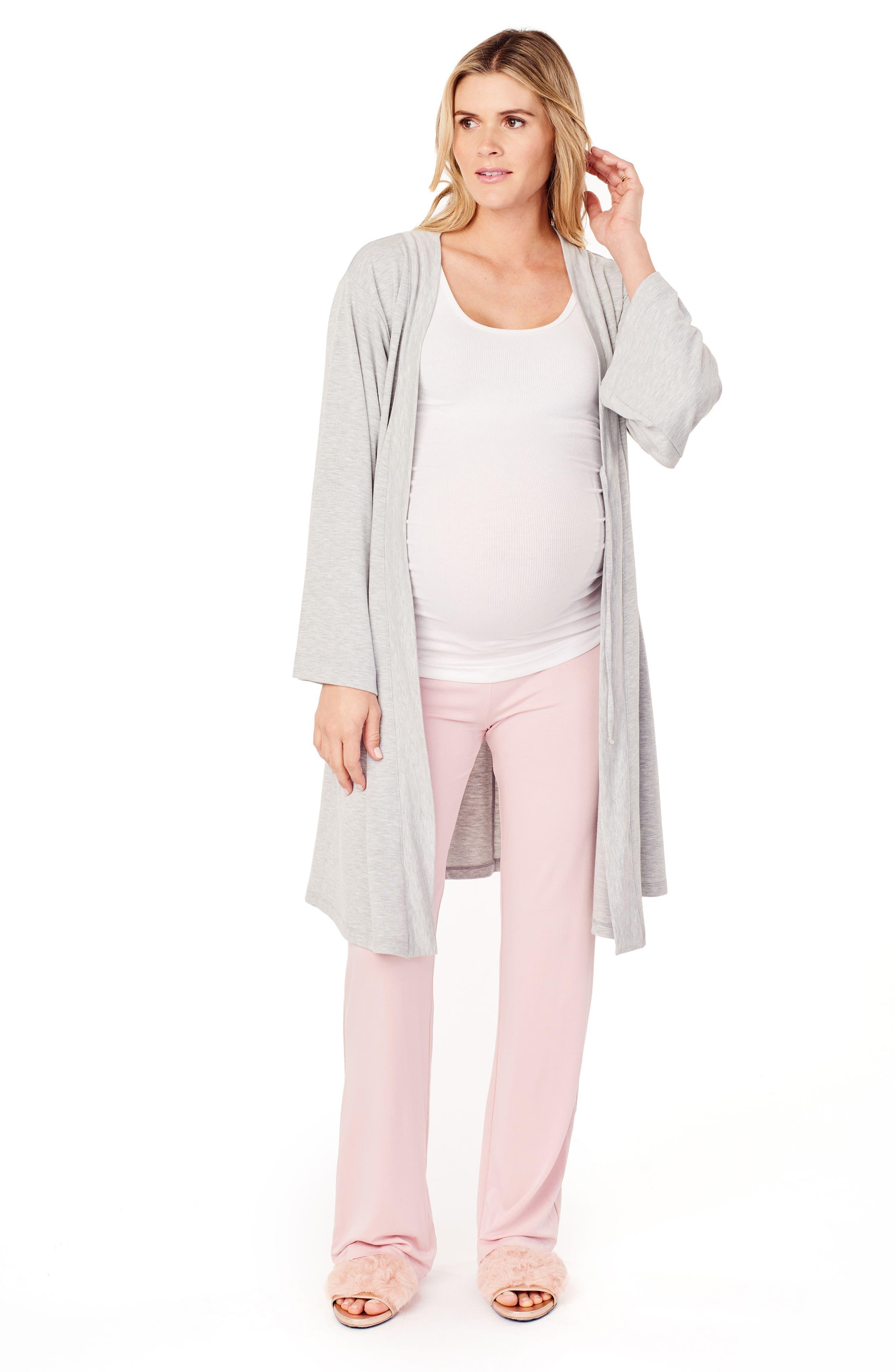 INGRID & ISABEL<SUP>®</SUP>, Kimono Lounge Maternity Robe, Alternate thumbnail 4, color, LIGHT HEATHER GREY