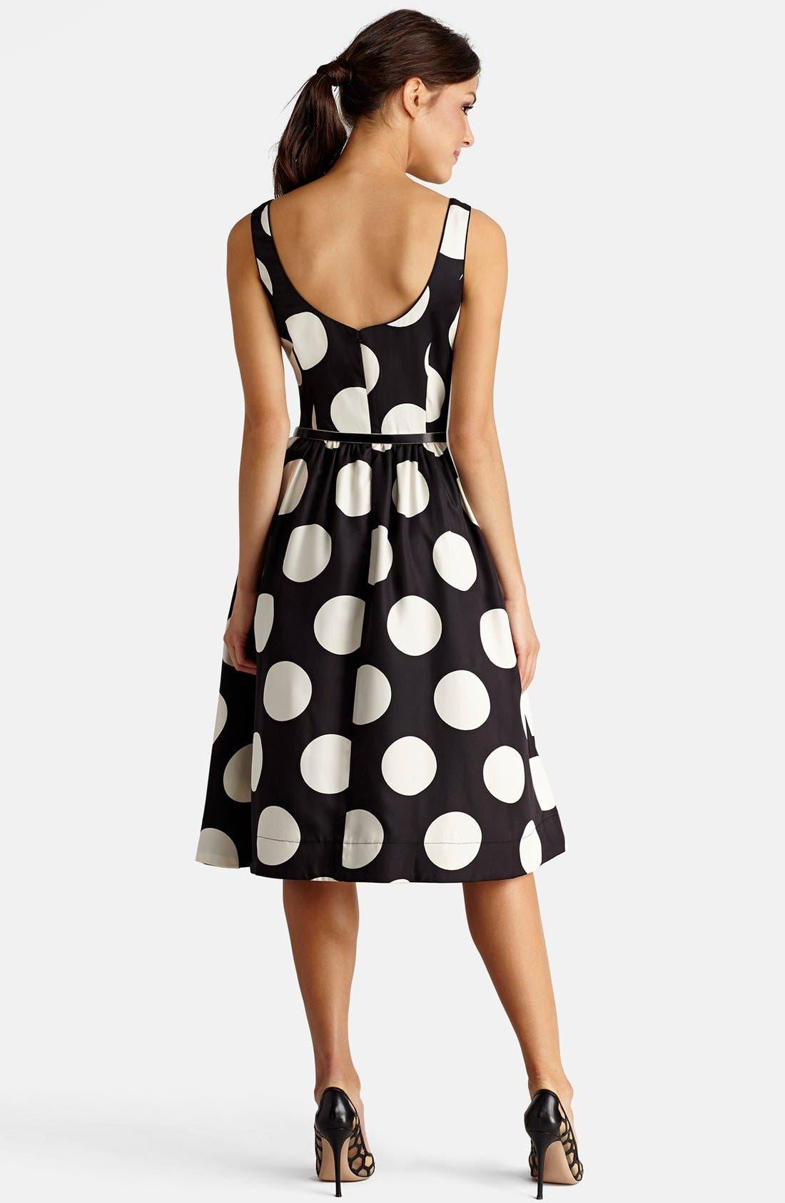 DONNA MORGAN, Polka Dot Fit & Flare Midi Dress, Alternate thumbnail 2, color, 009