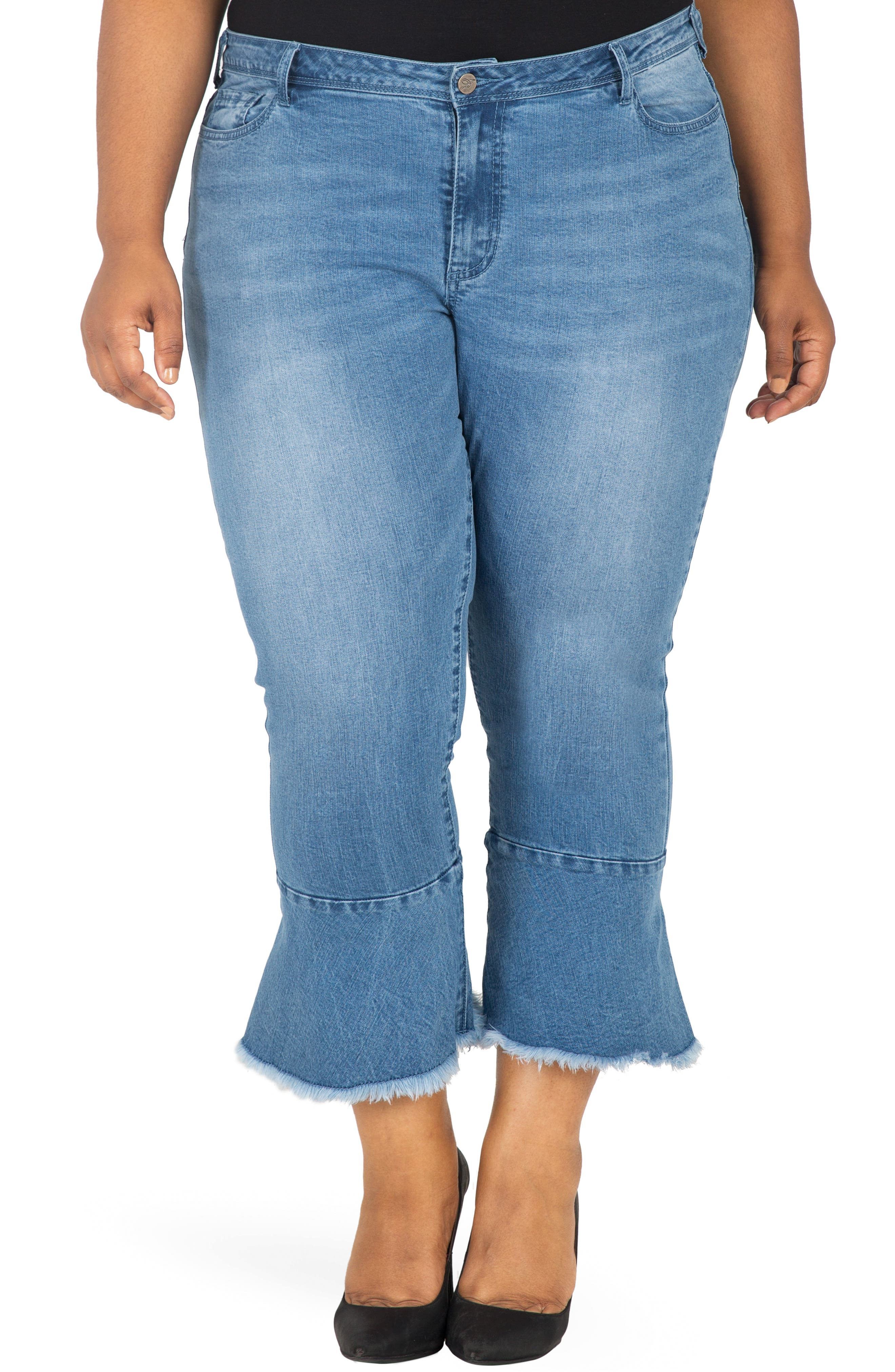 POETIC JUSTICE, Kesha Ruffle Skinny Jeans, Main thumbnail 1, color, BLUE
