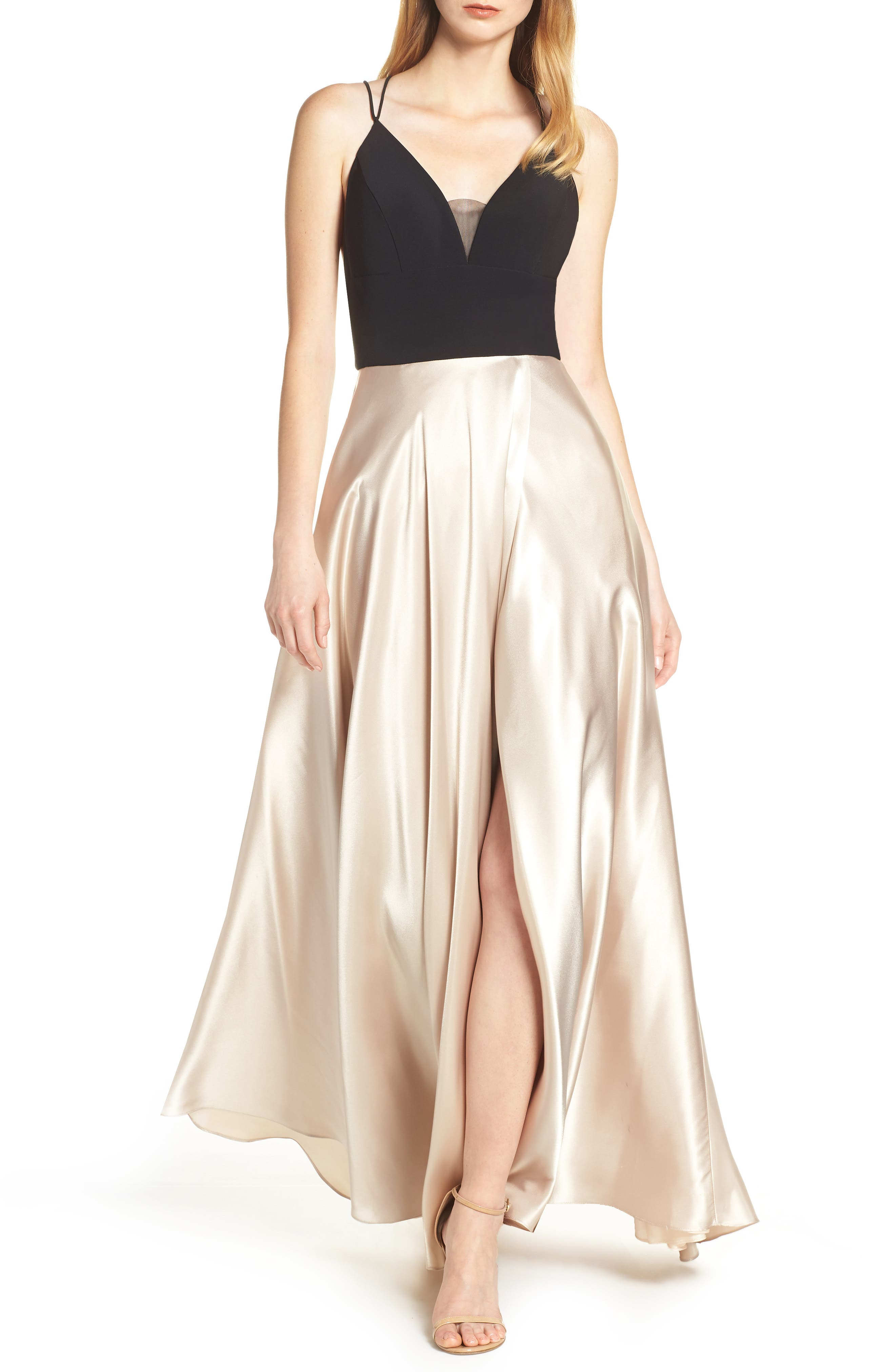 BLONDIE NITES, Strappy Back Crepe & Charmeuse Evening Dress, Main thumbnail 1, color, BLACK/ GOLD
