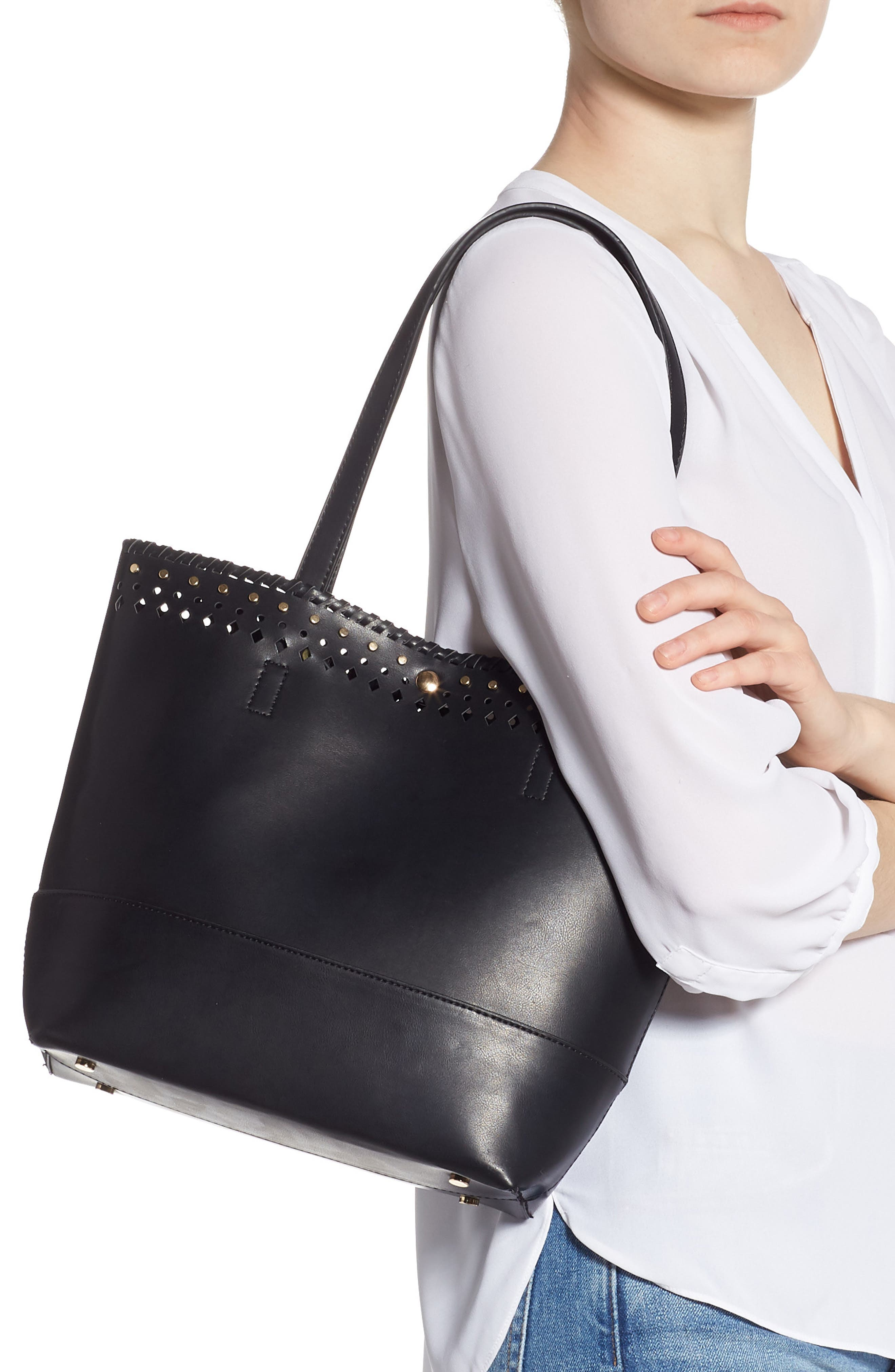SOLE SOCIETY, Ivah Mini Faux Leather Tote, Alternate thumbnail 2, color, BLACK