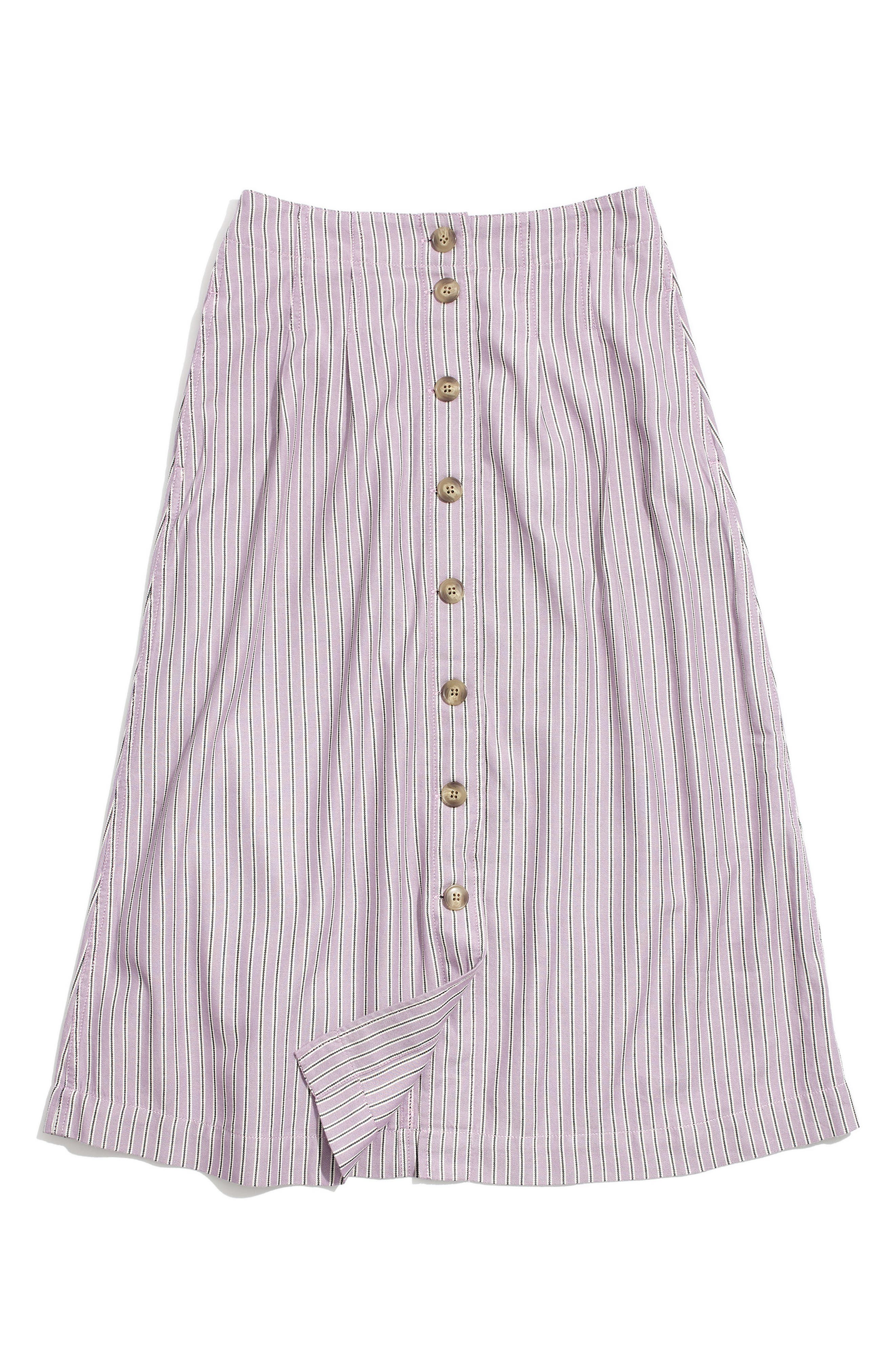 MADEWELL Patio Lilac Stripe Button Front Midi Skirt, Main, color, SERINE LAVENDER RENSER STRIPE