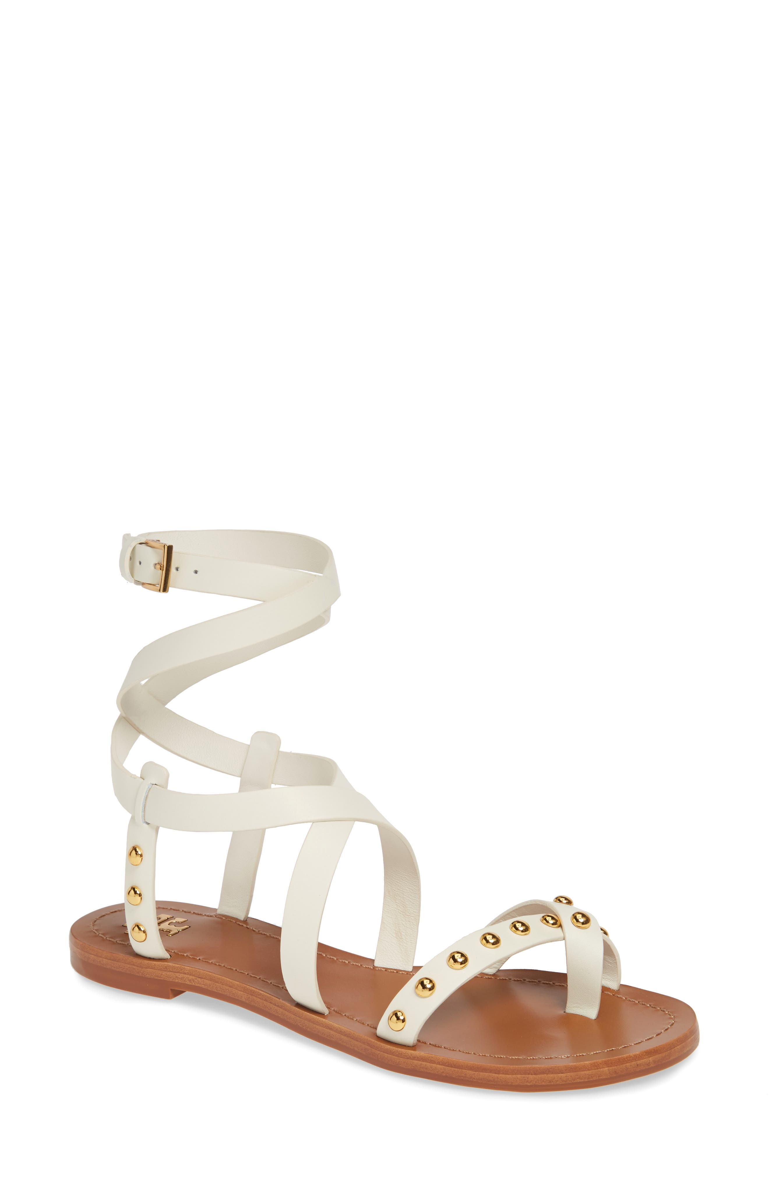 TORY BURCH Ravello Studded Cage Sandal, Main, color, PERFECT IVORY
