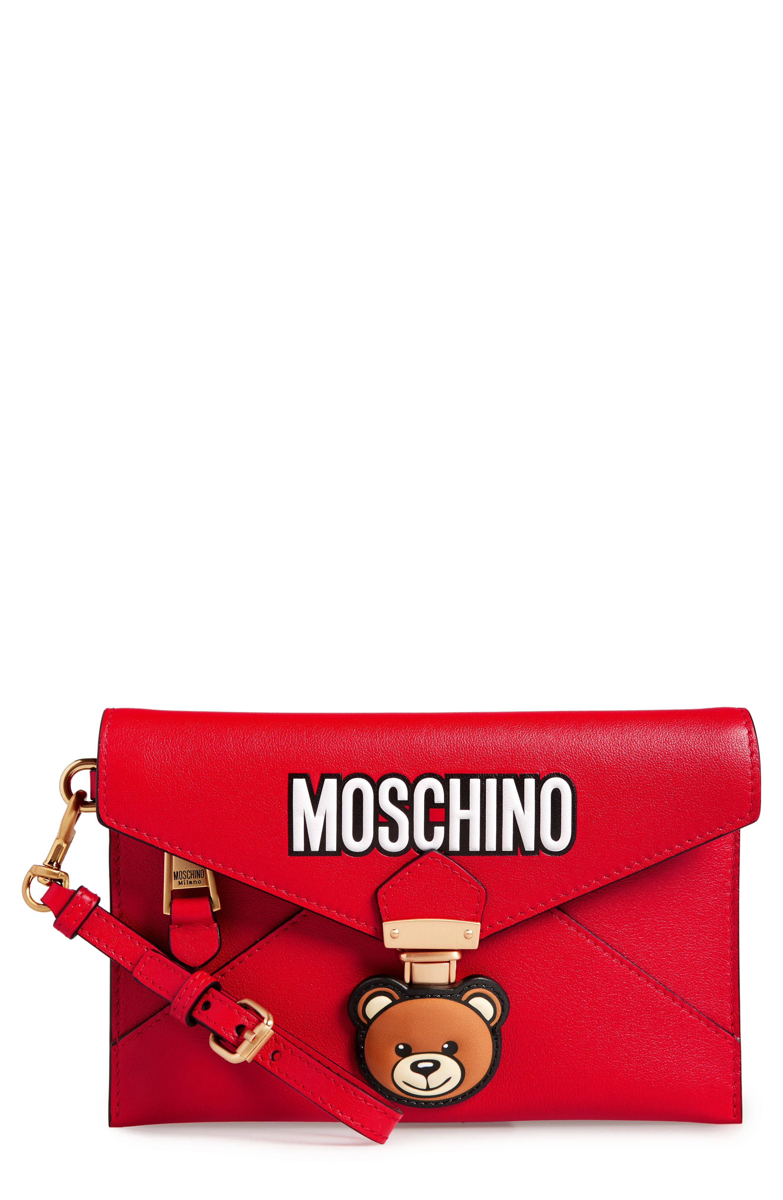 MOSCHINO Bear Faux Leather Wristlet, Main, color, RED
