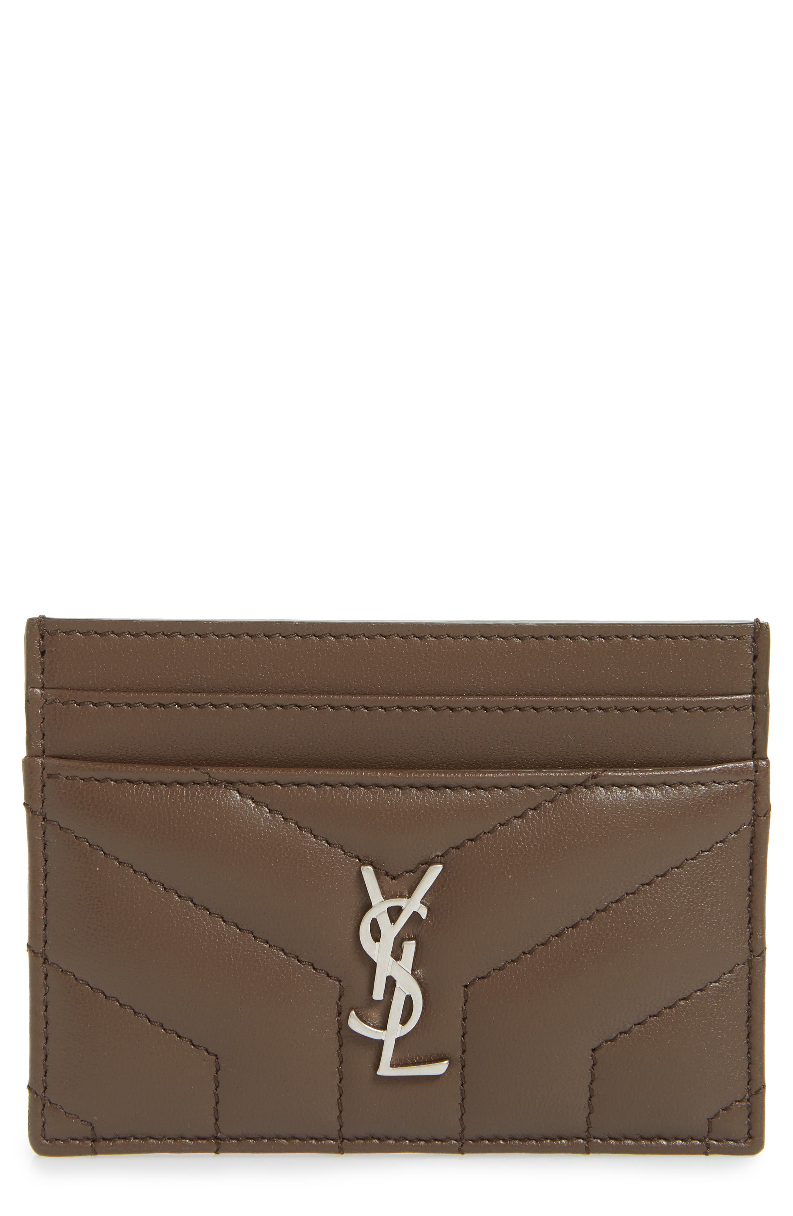 SAINT LAURENT, Loulou Monogram Quilted Leather Credit Card Case, Main thumbnail 1, color, FAGGIO