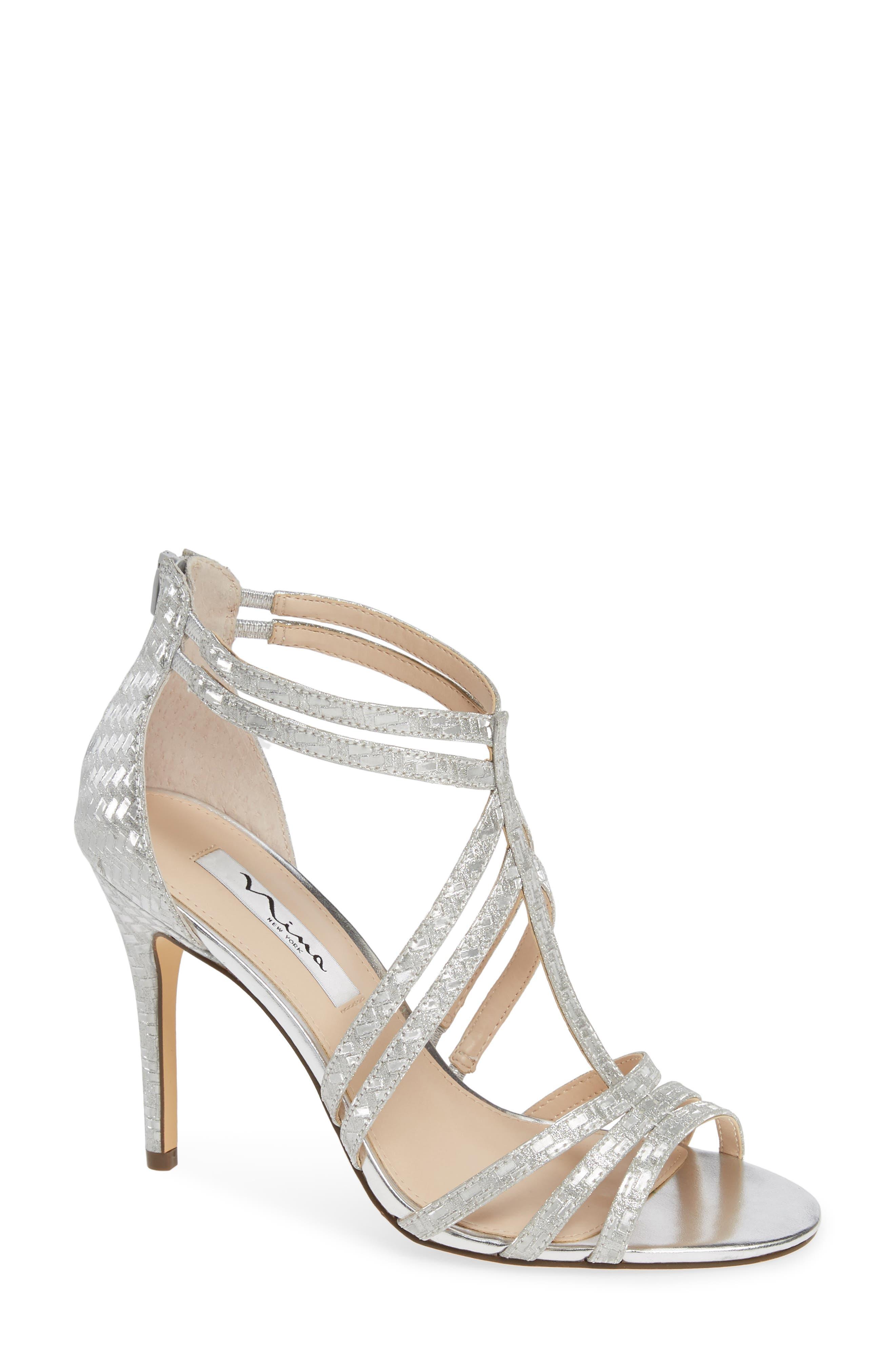 Nina Carlie Ankle Strap Sandal, Metallic