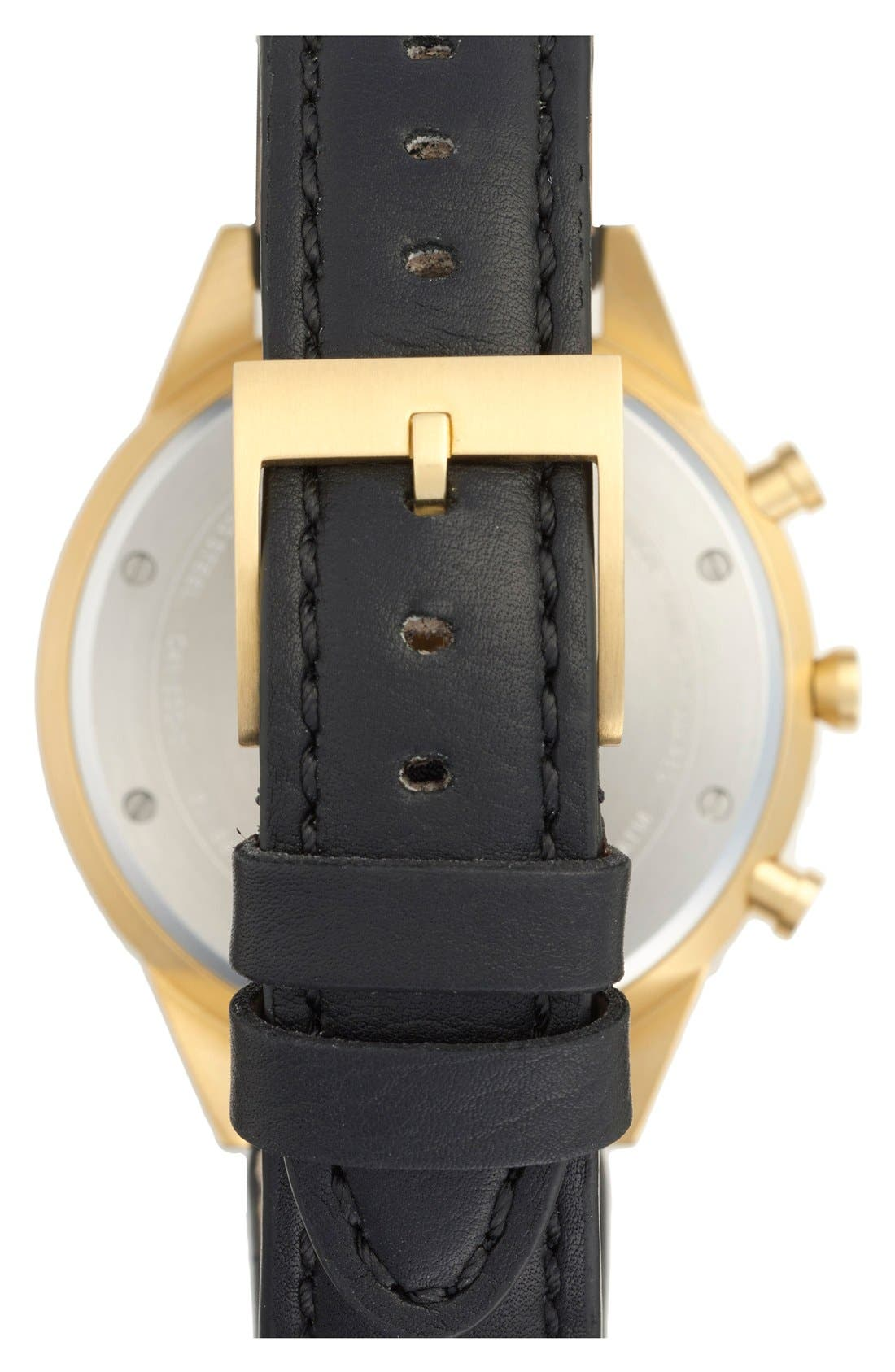 UNIFORM WARES, Leather Strap Watch, 41mm, Alternate thumbnail 3, color, 001