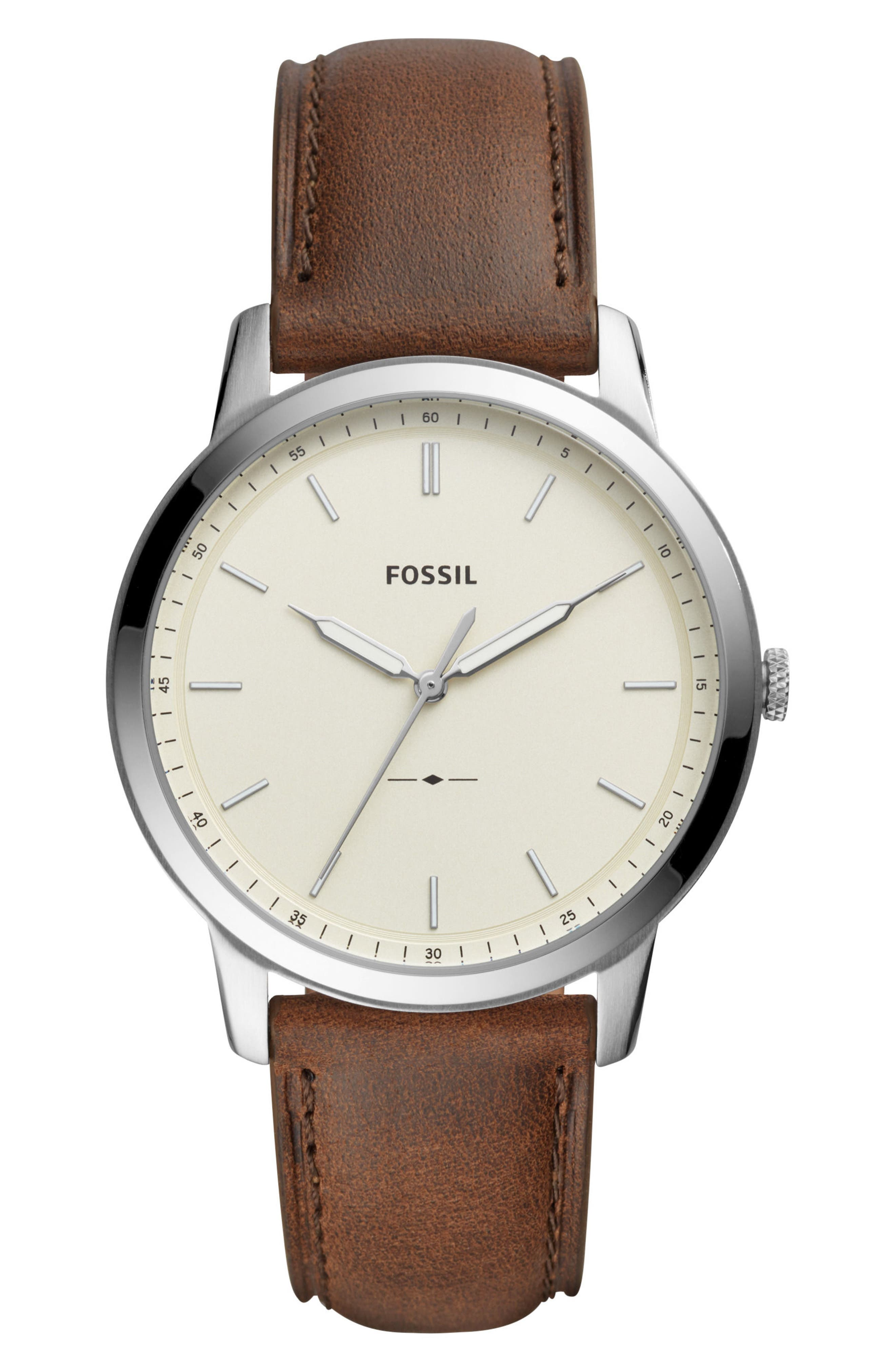 FOSSIL, Minimalist Leather Strap Watch, 44mm, Main thumbnail 1, color, BROWN/ BEIGE/ SILVER