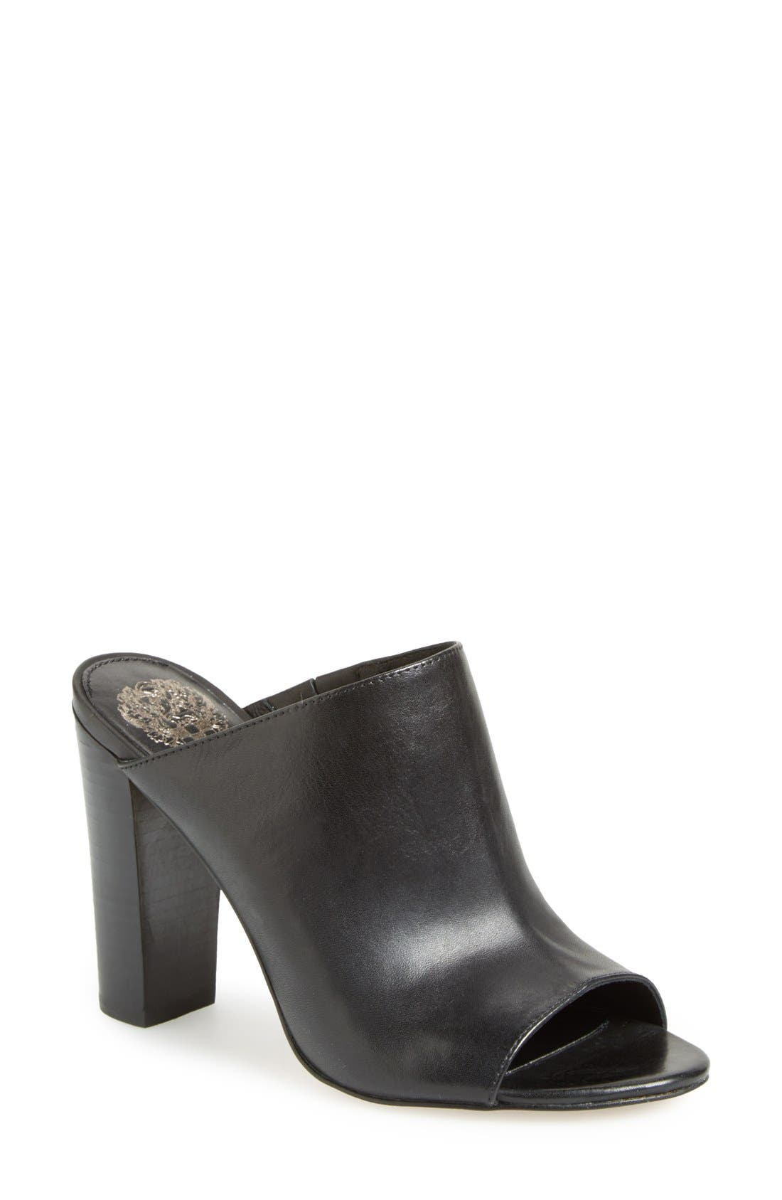 VINCE CAMUTO, 'Vestata' Leather Peep Toe Mule, Main thumbnail 1, color, 001