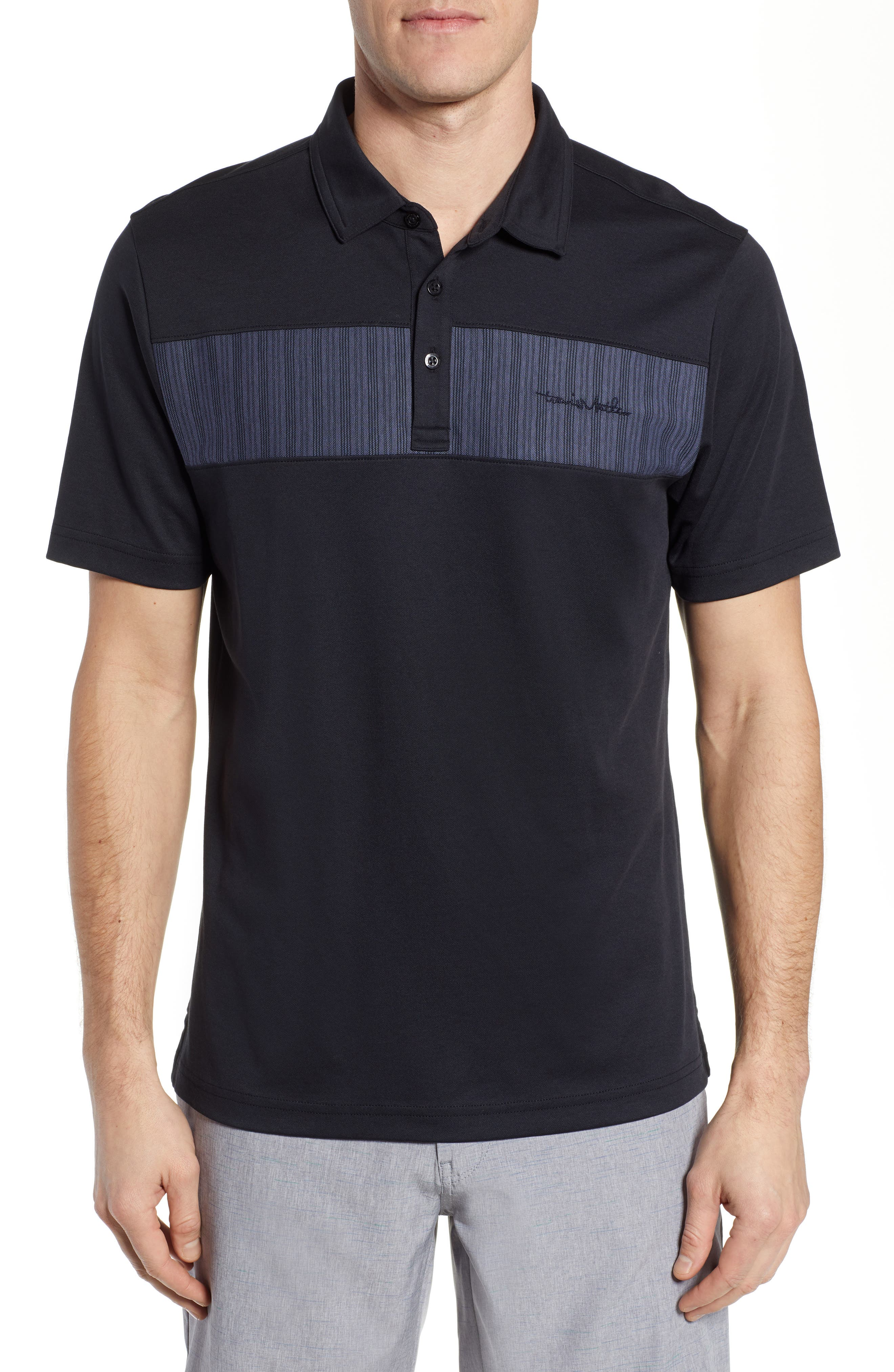 TRAVISMATHEW, Burns Regular Fit Polo, Main thumbnail 1, color, BLACK