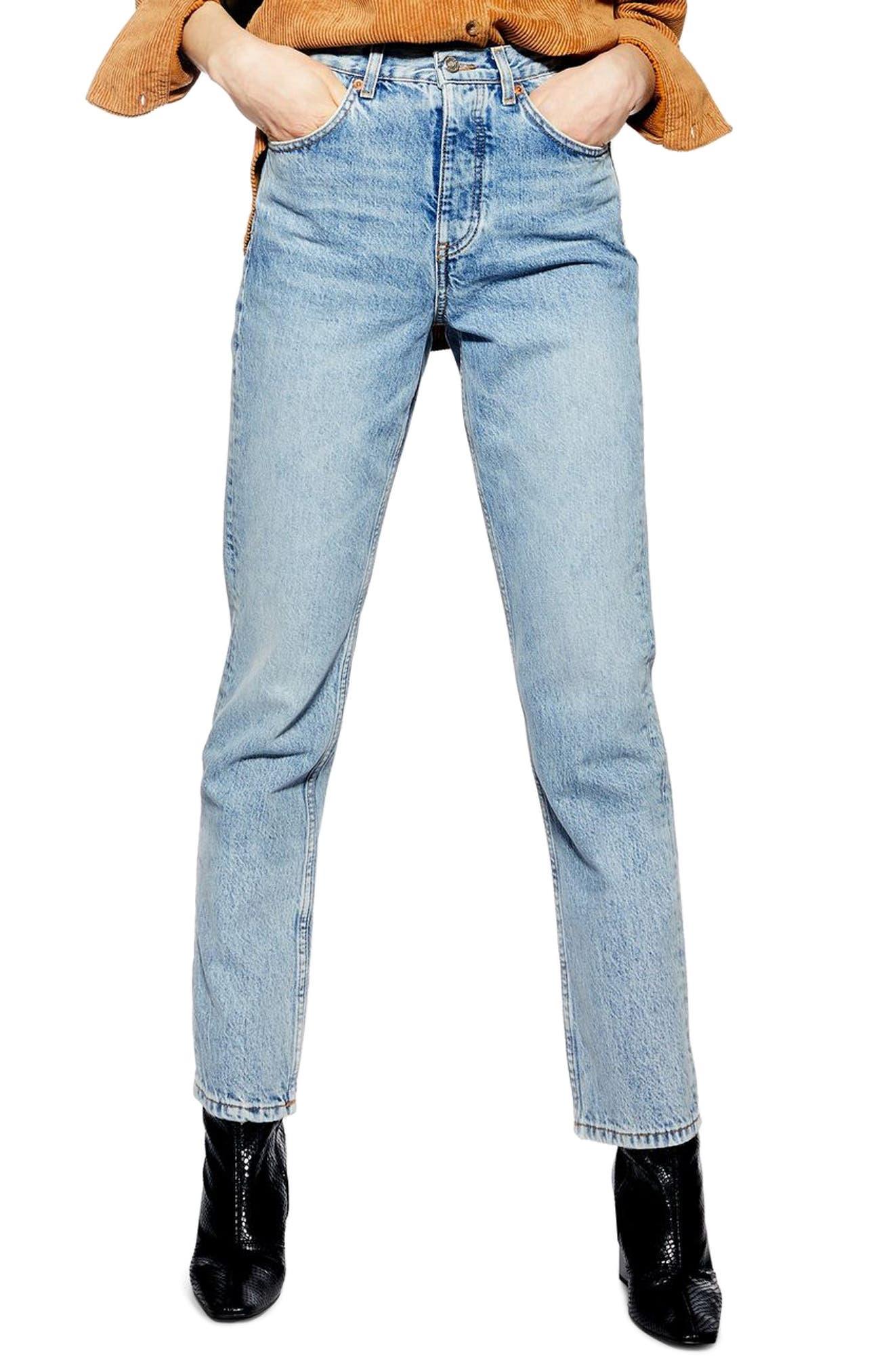 TOPSHOP Editor Straight Leg Jeans, Main, color, BLEACH