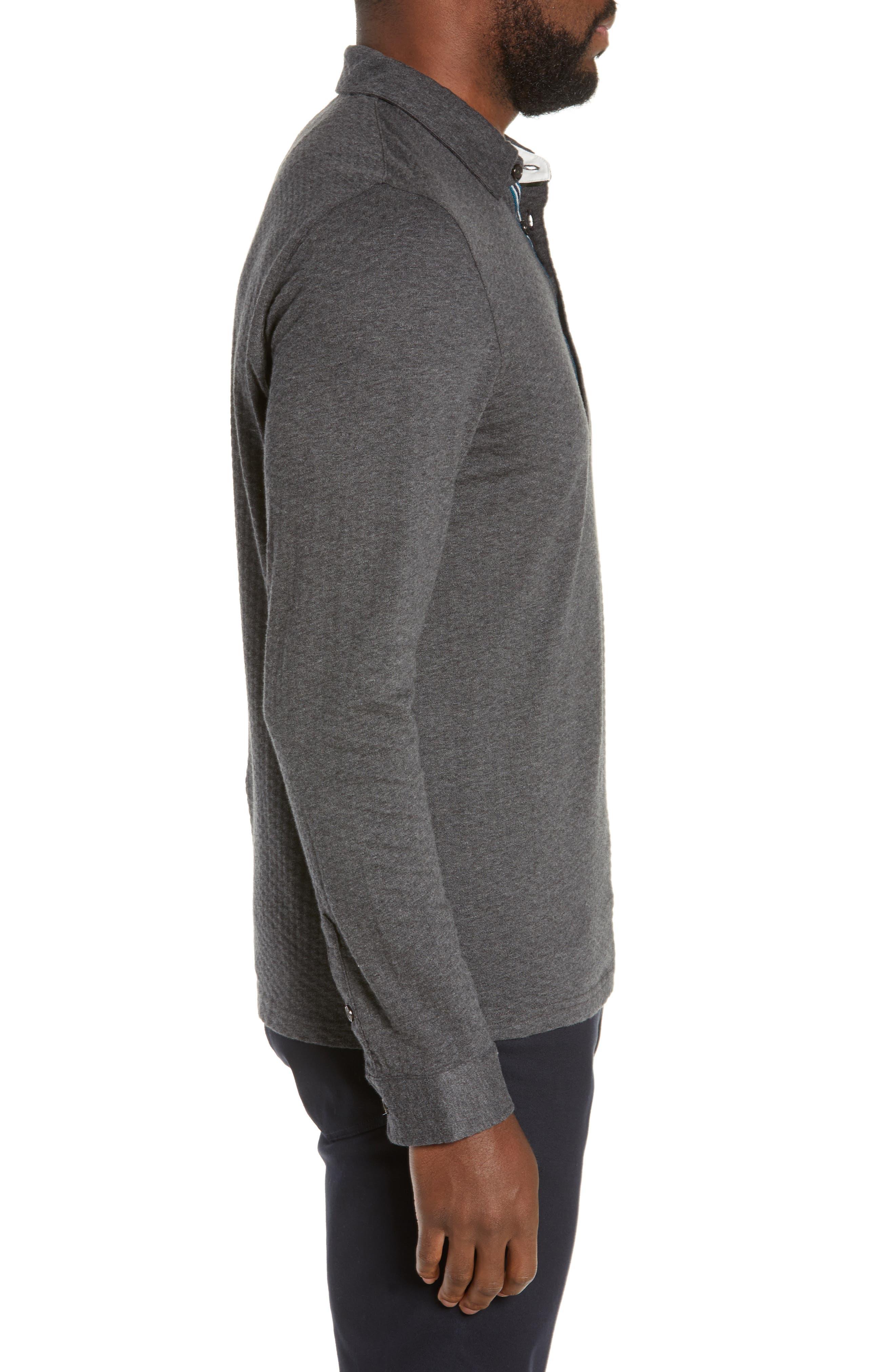 TED BAKER LONDON, Fruitpa Slim Fit Long Sleeve Polo, Alternate thumbnail 3, color, CHARCOAL
