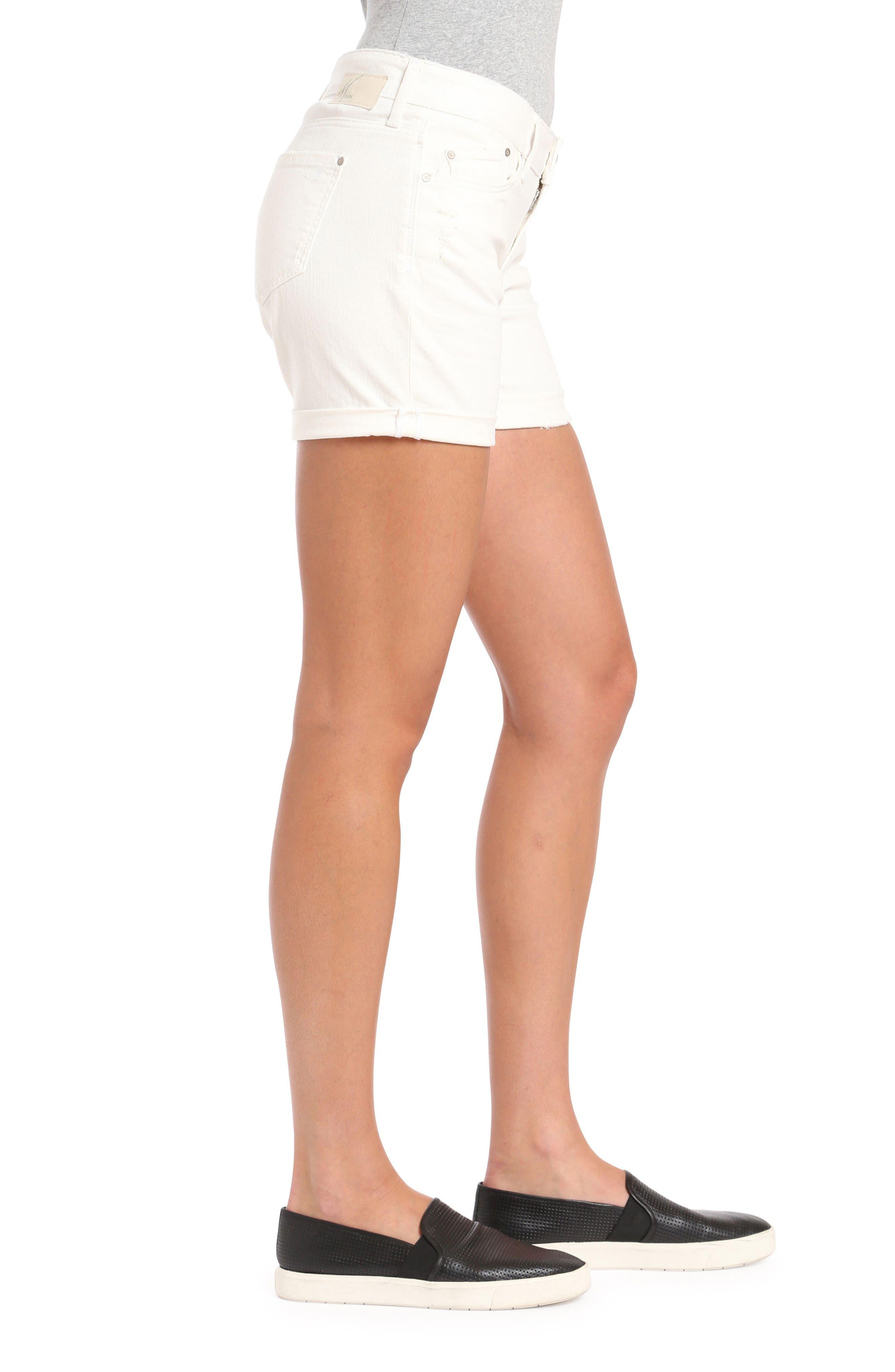 MAVI JEANS, Pixie Ripped Denim Shorts, Alternate thumbnail 3, color, WHITE RIPPED NOLITA