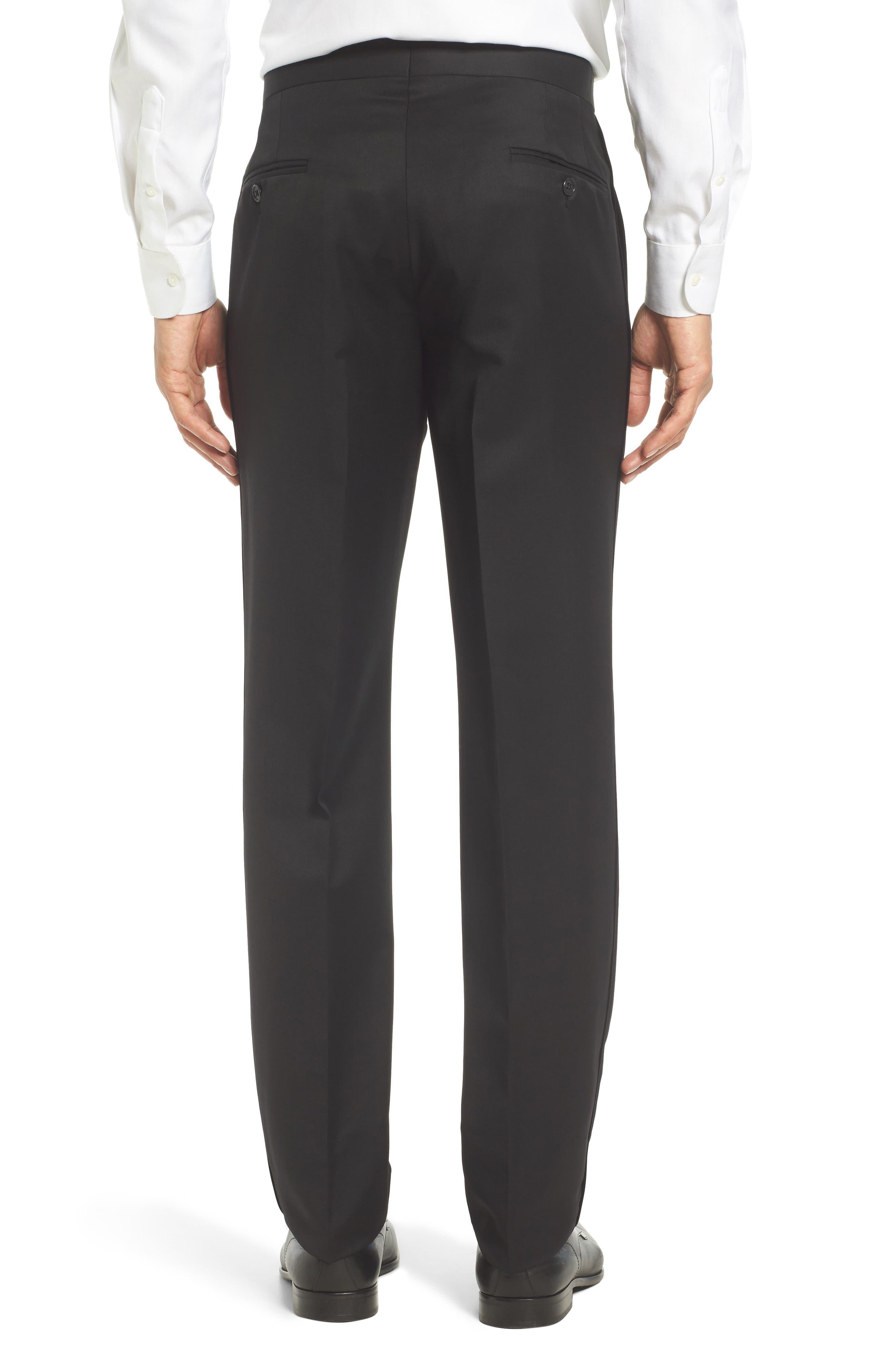 TED BAKER LONDON, Josh Flat Front Wool & Mohair Tuxedo Pants, Alternate thumbnail 3, color, BLACK