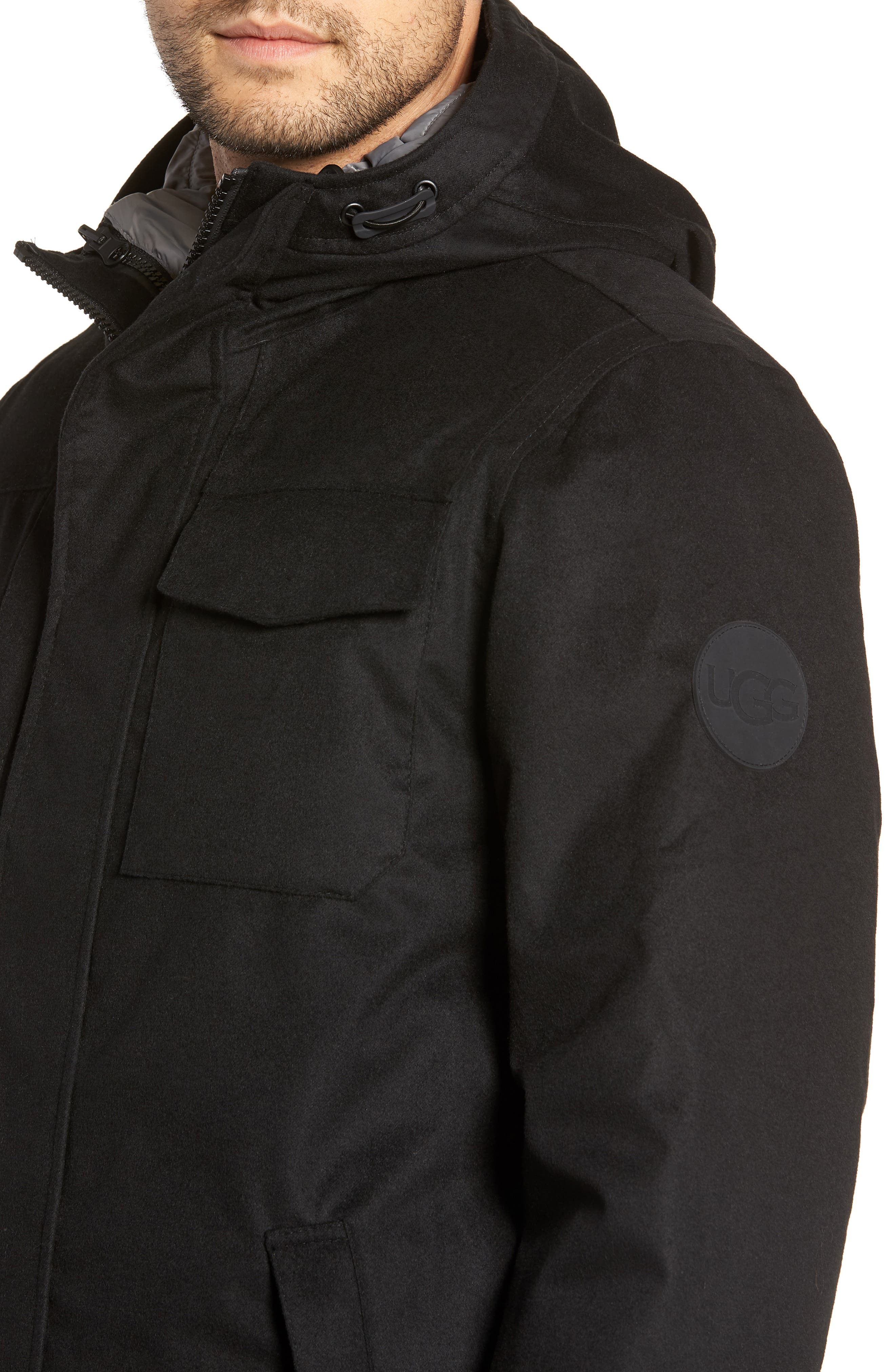 UGG<SUP>®</SUP>, Copeland 3-in-1 Parka, Alternate thumbnail 5, color, BLACK